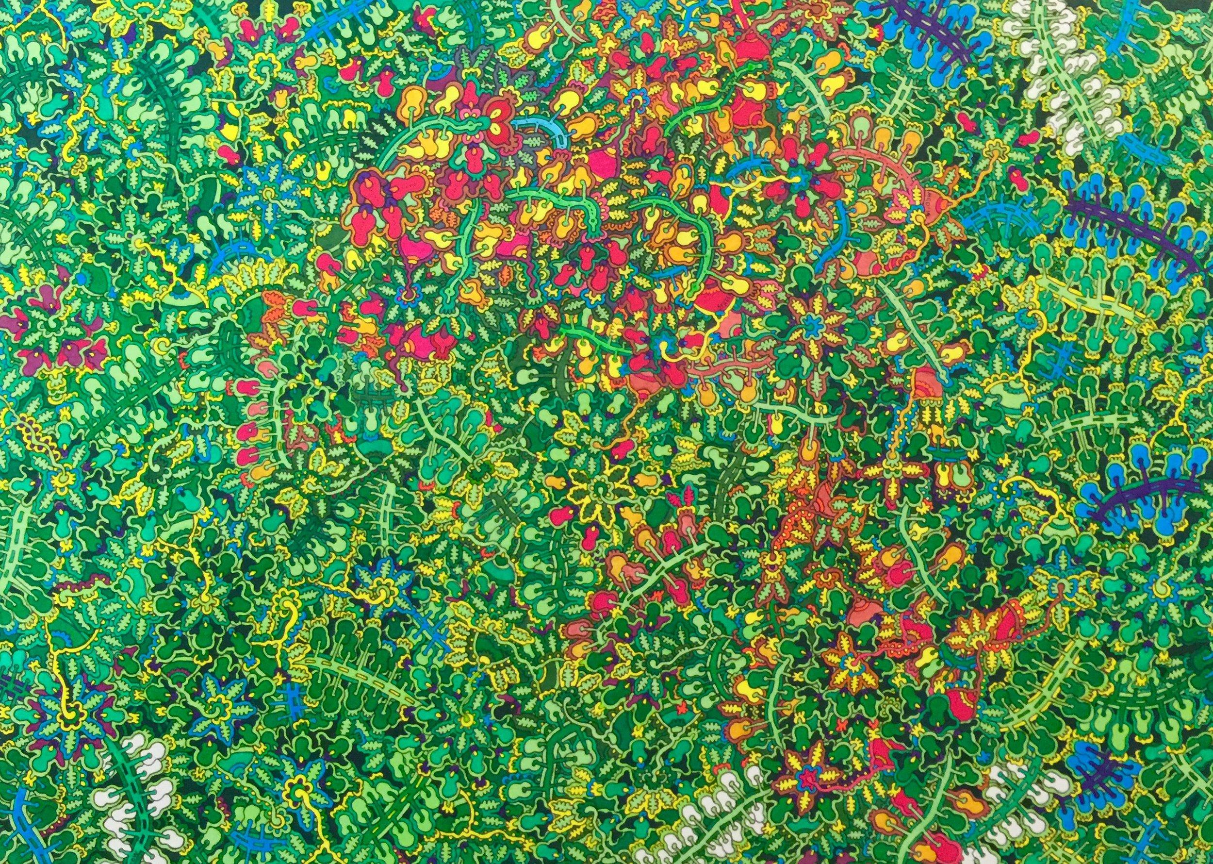 Max Goshko-Dankov, Green, Oil and Water based Markers on Paper, 30 x 40,  https://www.mgdankov.com/artworks