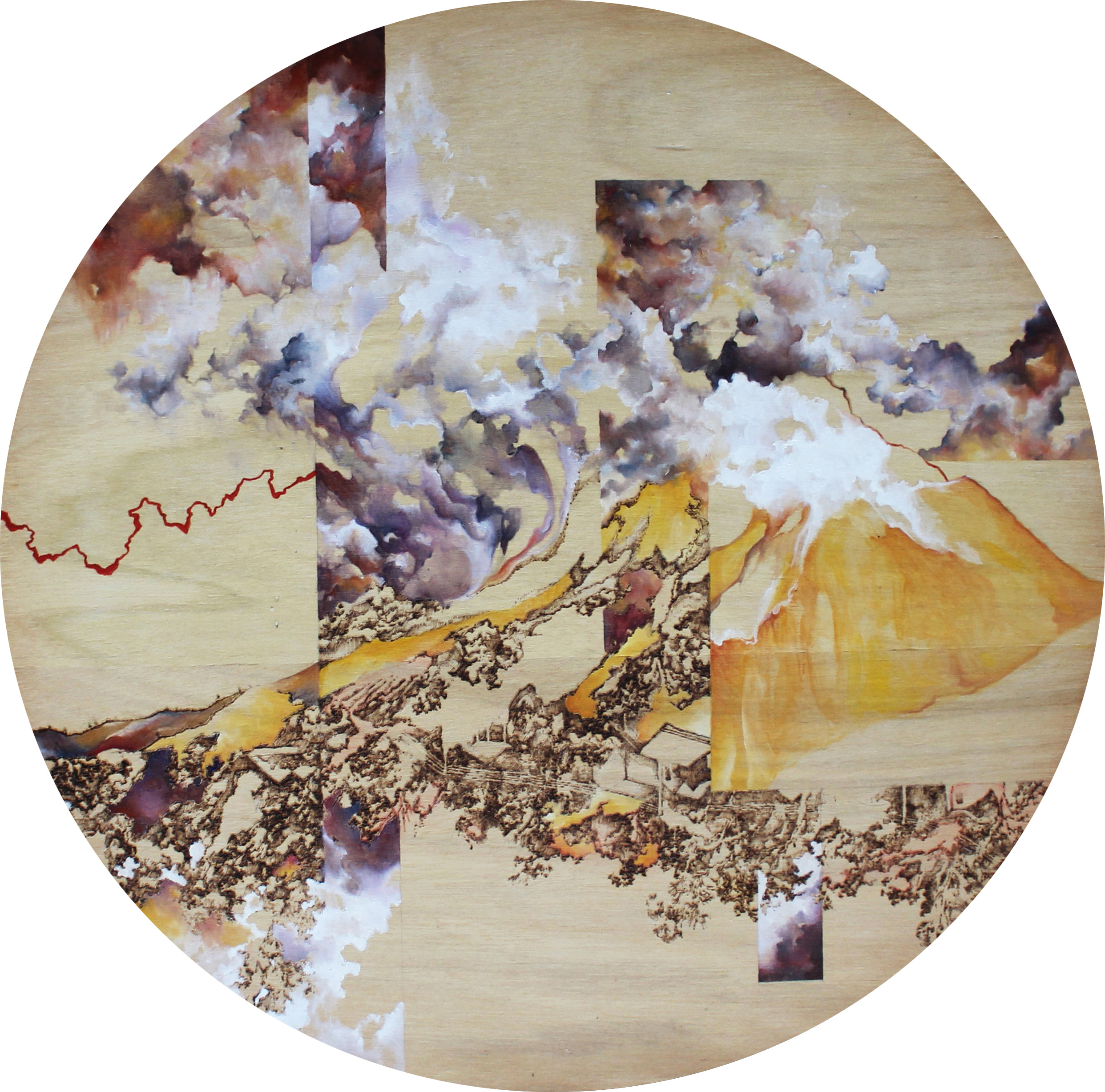 Michelle Loa Kum Cheung, Quiet Rebellion, Oil and pyrography on wood, 51cm (diameter) x 3cm (depth),  http://www.michellelkc.com