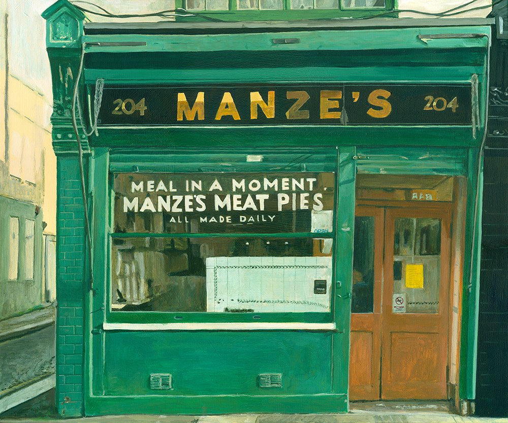 Michelle Heron, Manze's Meat Pies, Acrylic on canvas, 50 x 60 x 2,  http://www.michelleheron.co.uk