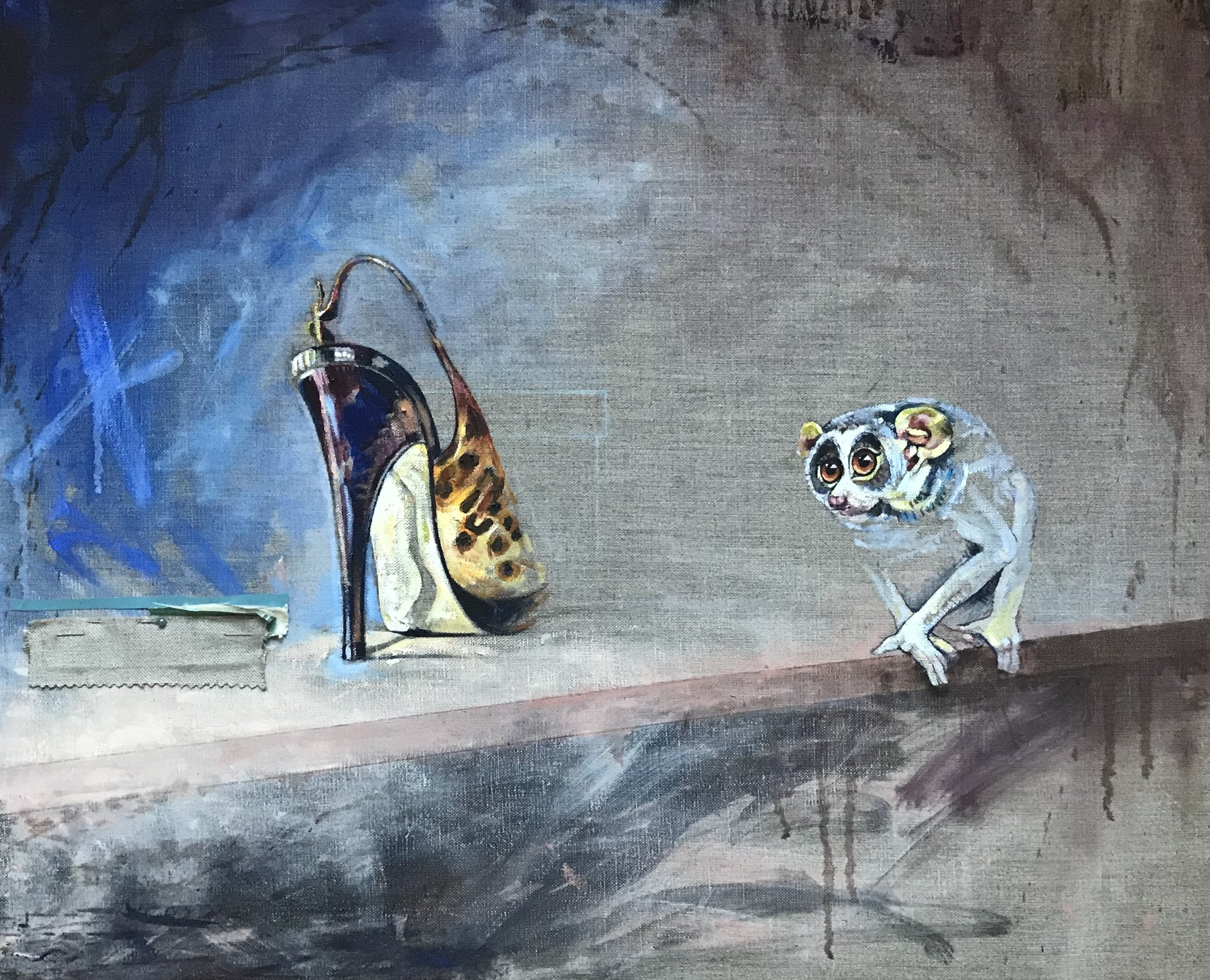 Laura Andrew, Laura Andrew. The Loris Who Loved Shoes, Oil on canvas, 50cm x 61cm x 2cm,  http://www.lauraandrew.com