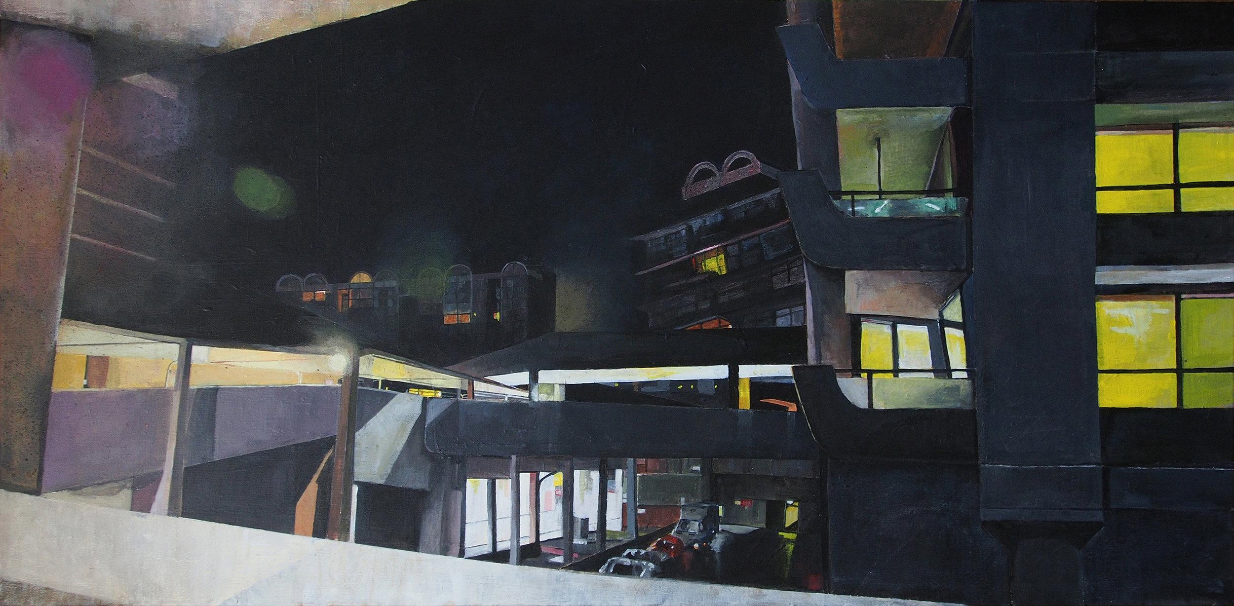Victoria Dale, Barbican (at night), Acrylic on canvas, 50 cm x 100 cm x 3 cm,  http://www.vickydale.com/