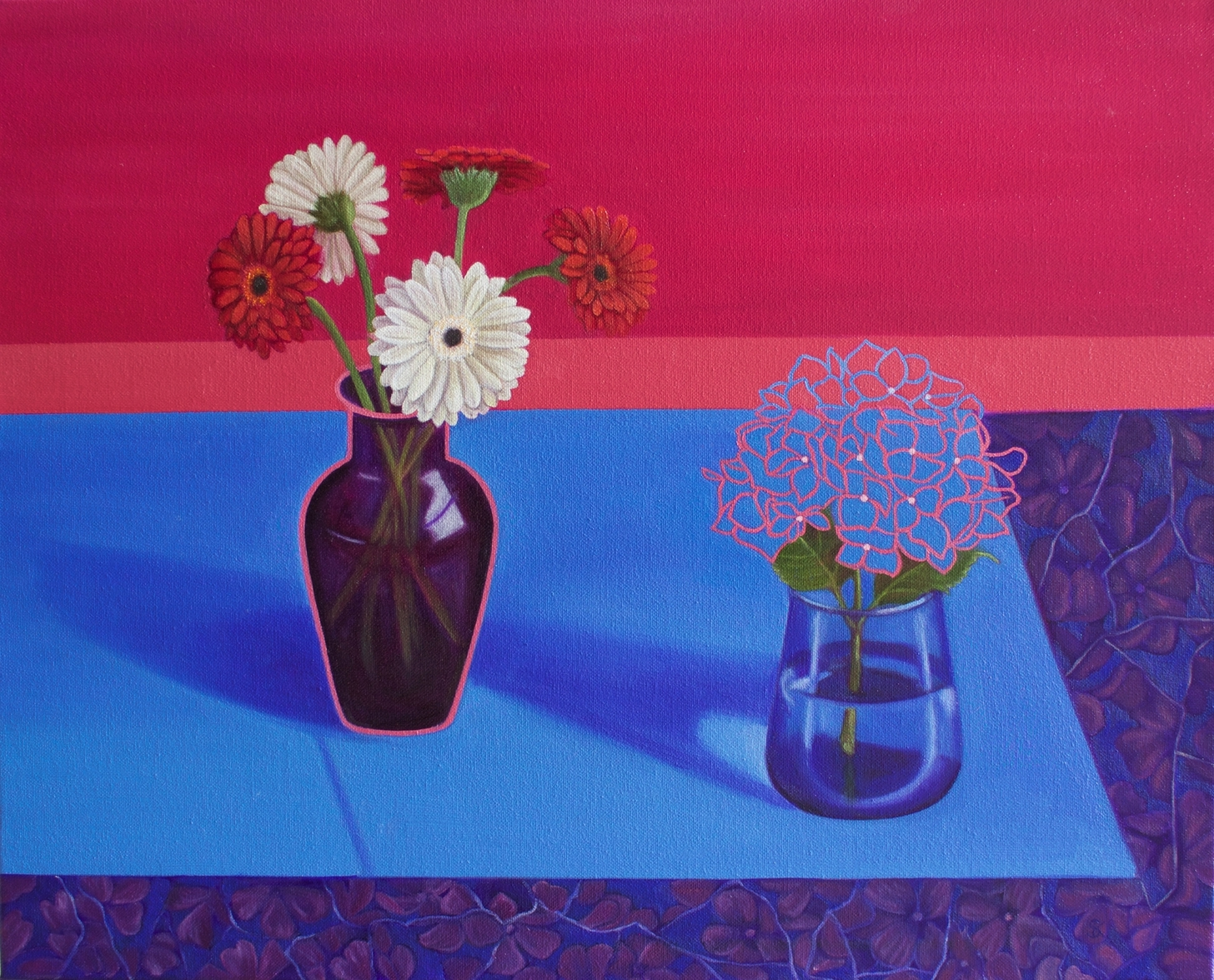 Suzanne Kemplay, Gerberas & Hydranger, Oil on canvas, 40cm x 50cm x 1cm,  http://www.suzannekemplay.co.uk