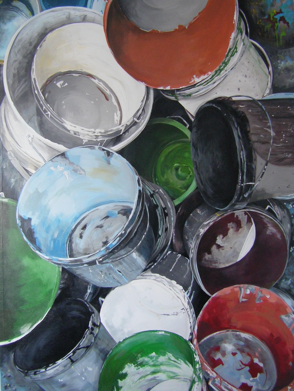 Rory Davis, Paint Pots, Acrylic on canvas, 200cm x 149cm x 4cm