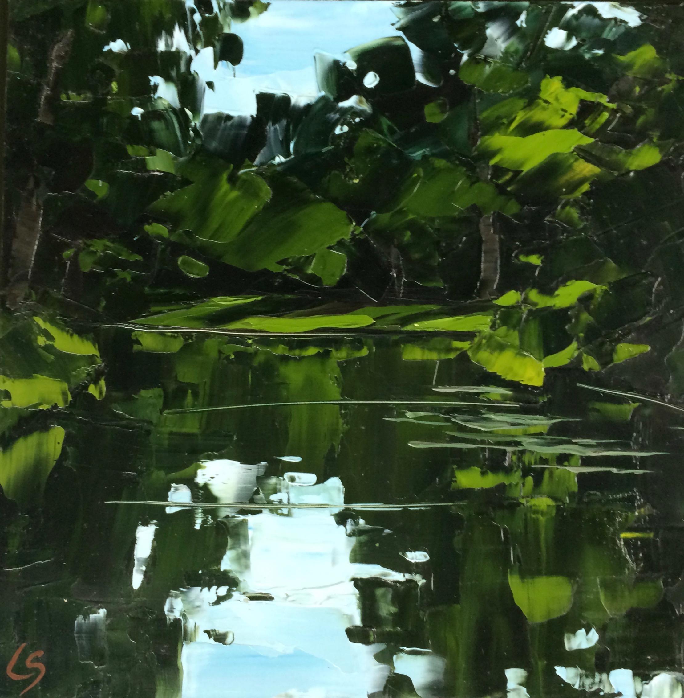 Lesley Skeates, Lesley Skeates - Waterside, oil paint applied with palette knife on panel, 30.5x30.5x0.4cm,  http://www.lesleyskeatesgallery.com