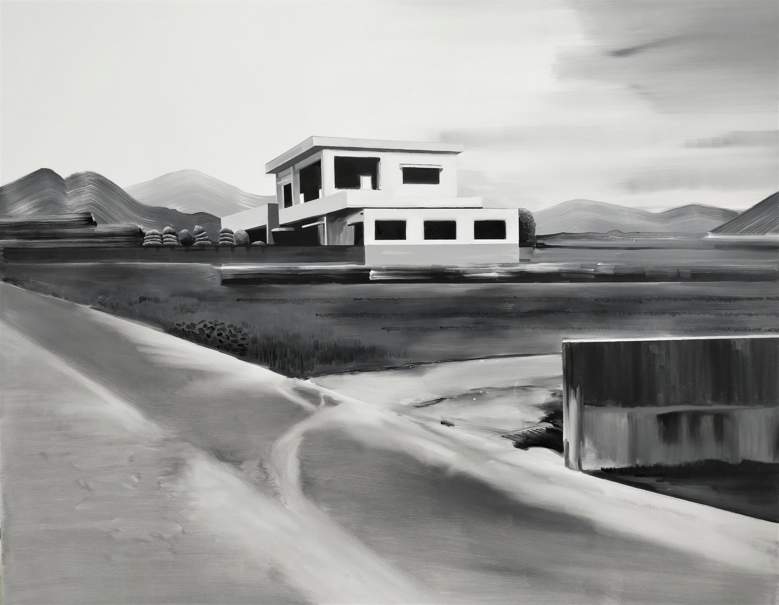 Charlotte Brisland, White and Grey House, oil on canvas, 150x120cm,  http://www.charlottebrisland.com