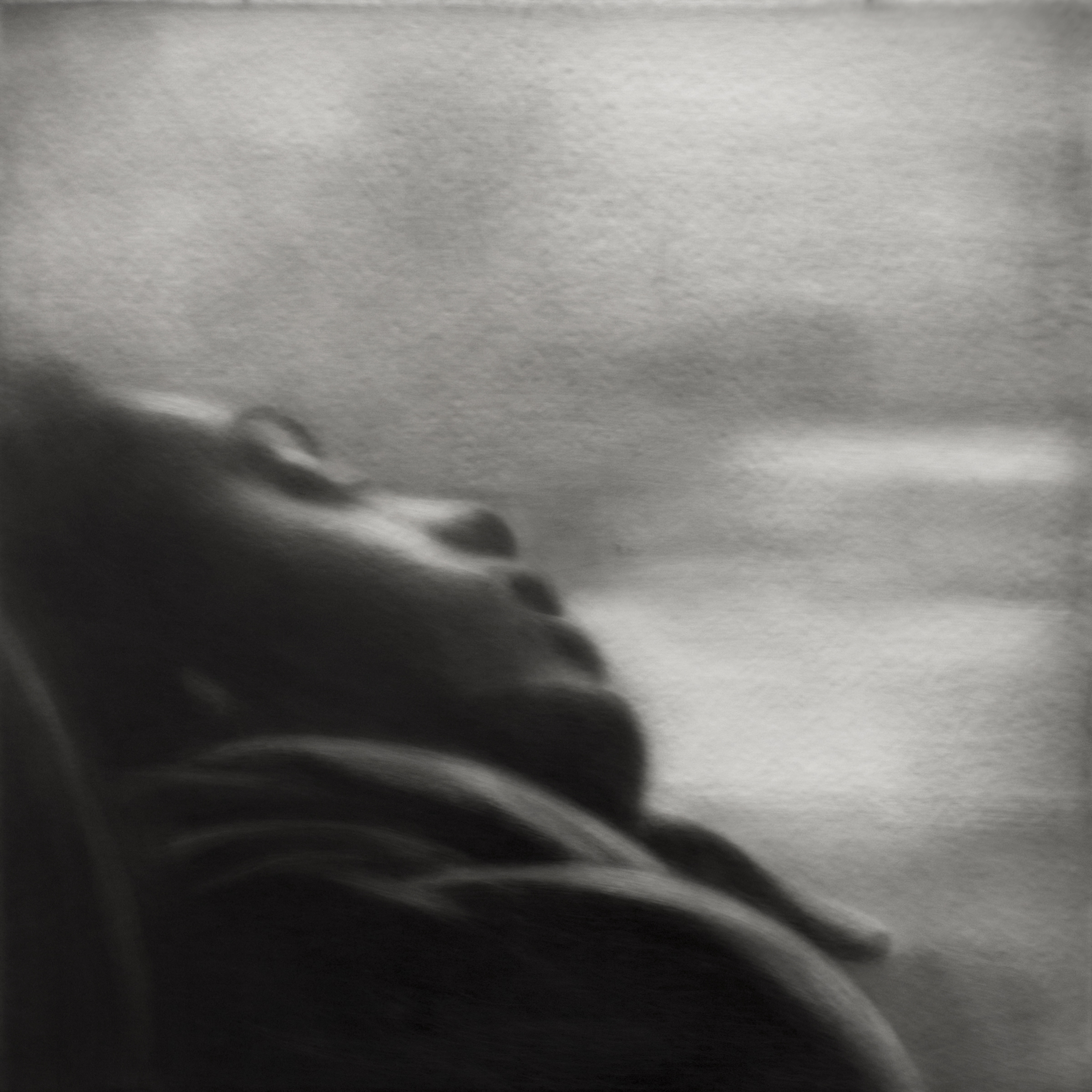 "Sarah Leahy, Sleeping Woman, Black India ink painted onto the surface of sanded plexiglass, 12"" by 12"",  http://www.sarahleahy.com"