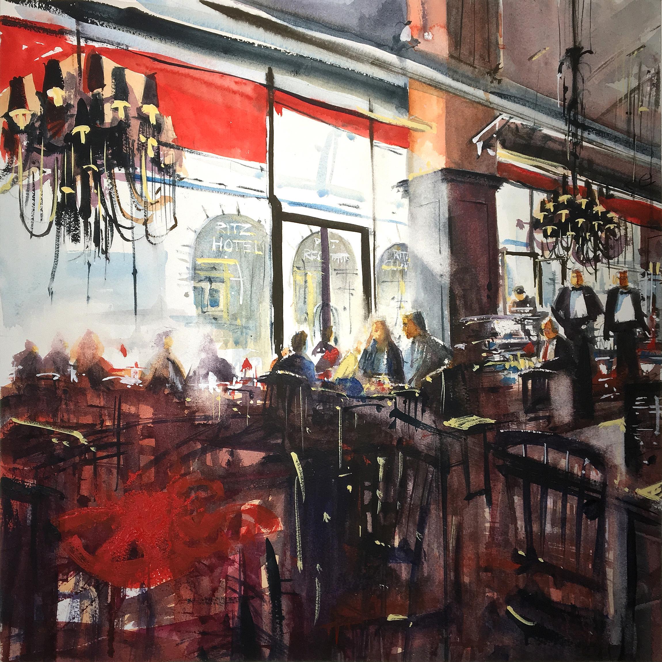 Mark Buck, Breakfast in Piccadilly, Watercolour on paper, 45 x 45 x 1,  http://www.markbuck.co.uk