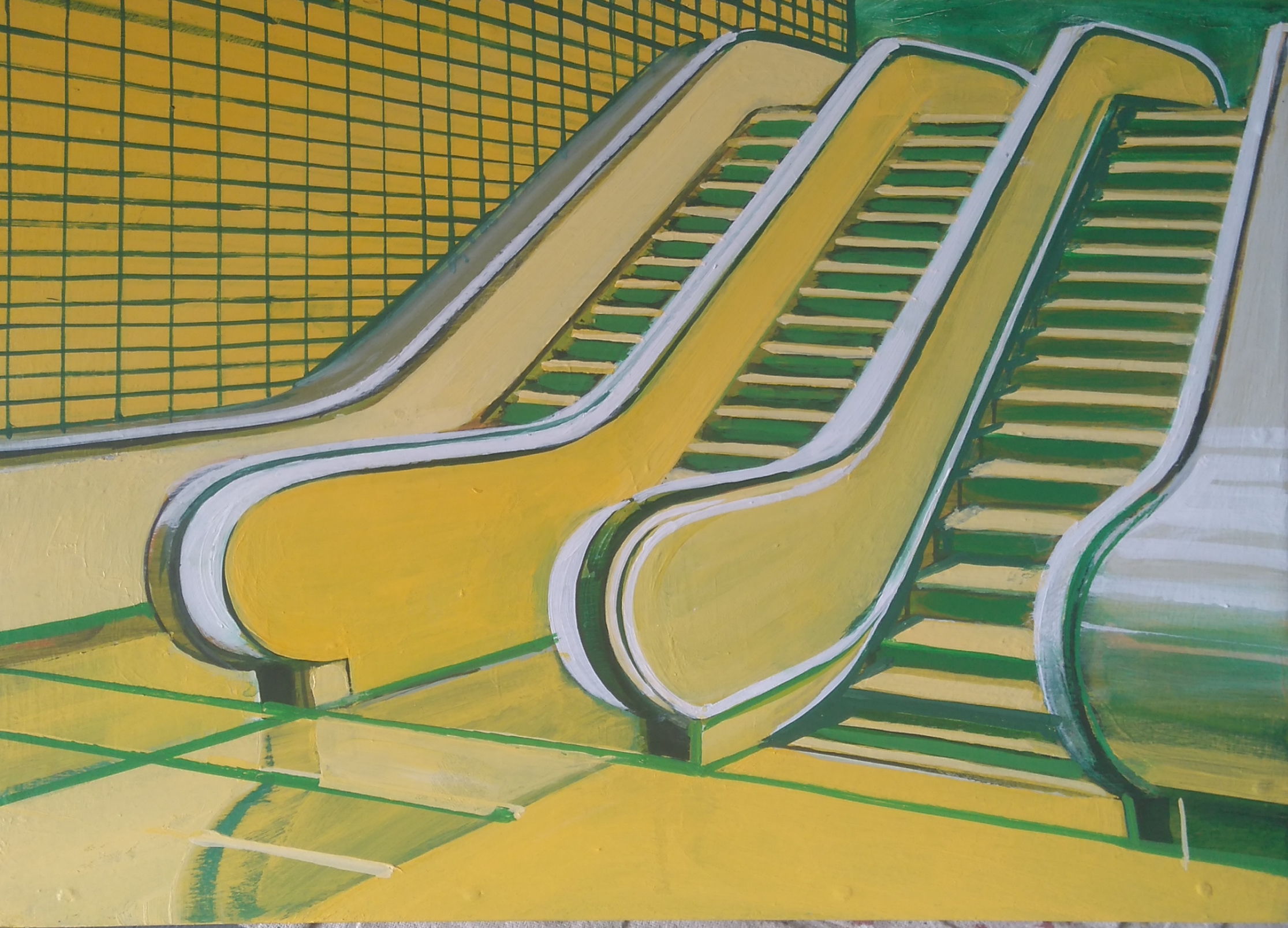 Paul Crook, Yellow Escalator, Acrylic on Panel, 21x30cm,  http://www.paulcrook.kk5.org