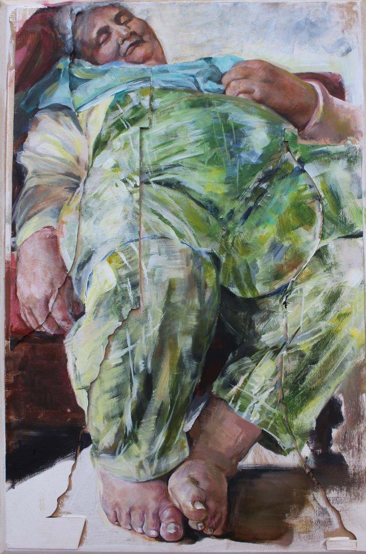 Suman Kaur, Nan Asleep, Acrylic on Board, 60 x 39 x 1.5,  http://www.sumankaurart.com