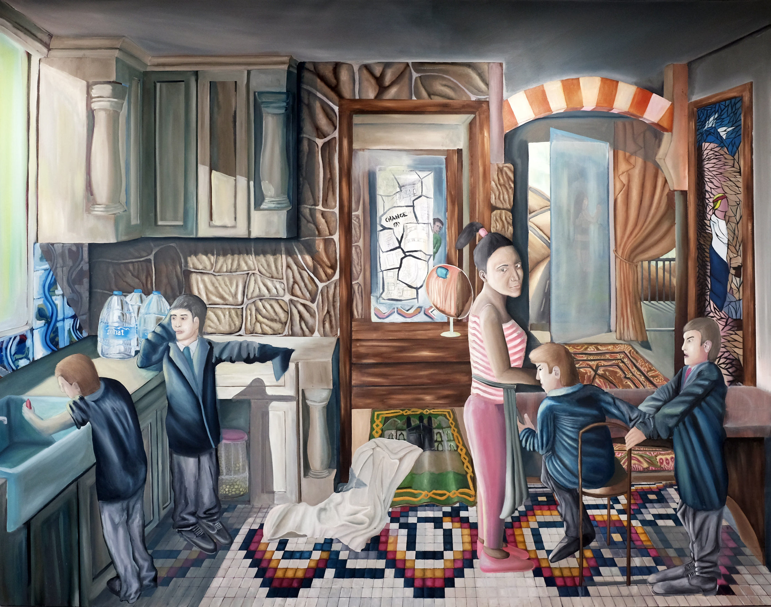 Karim Baradei, The Maid, Oil on canvas, 250 cm 320 cm x 4 cm,  https://baradeikarim.wixsite.com/mysite
