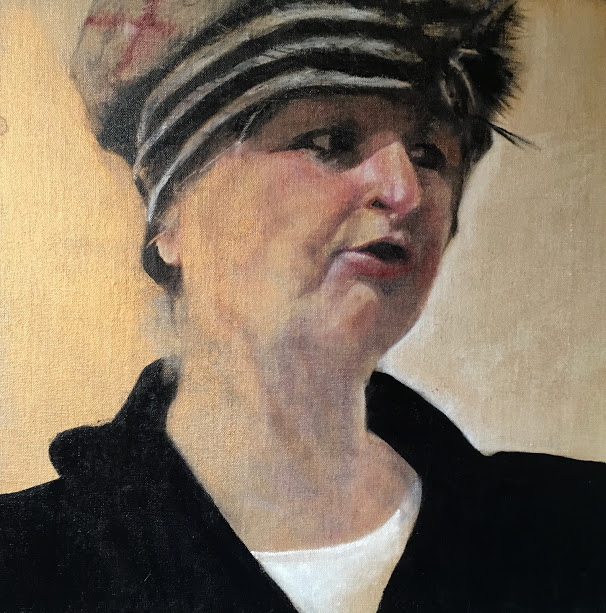 Sharon Wright, Something To Say, Oil on linen board, 40 x 40 x 0.5 cm,  http://www.sharonwrightartist.blogspot.co.uk