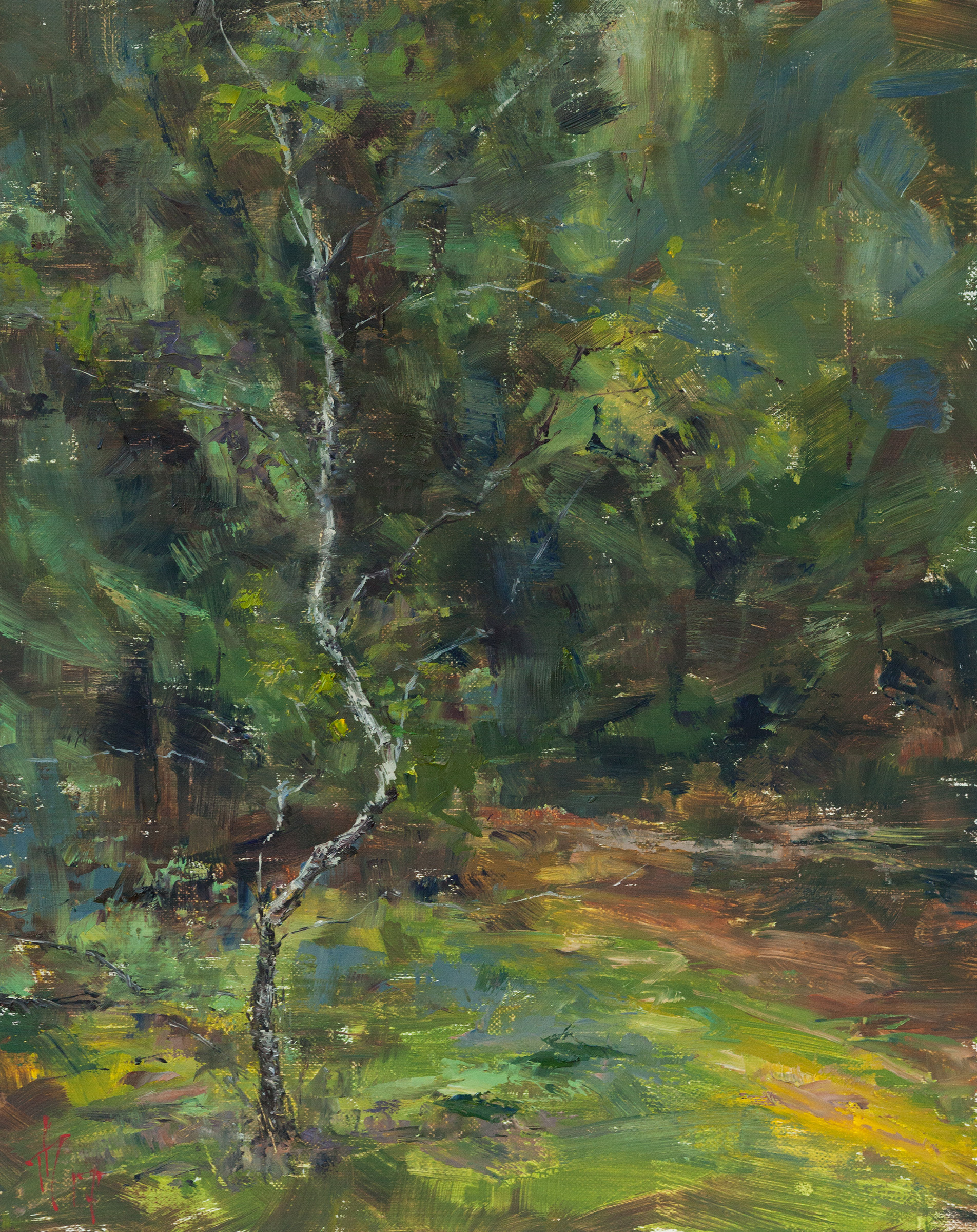 Andrei Tchernoukha, Lonely birch, Oil on linen panel, 30 x 24 x 0.5,  http://atchern.com