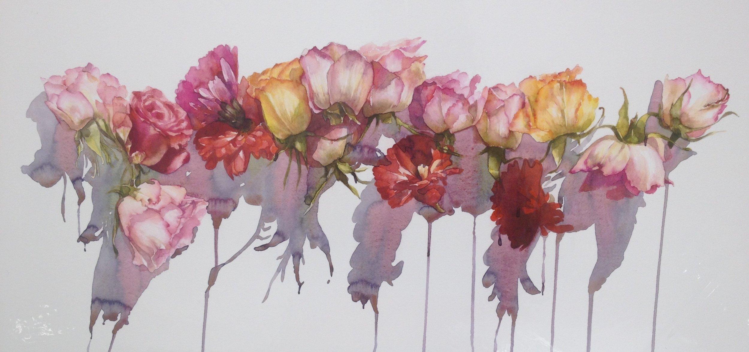 Angela Malone, Garland, Watercolour, 41cm x 104cm,  http://Www.angelamaloneart.com