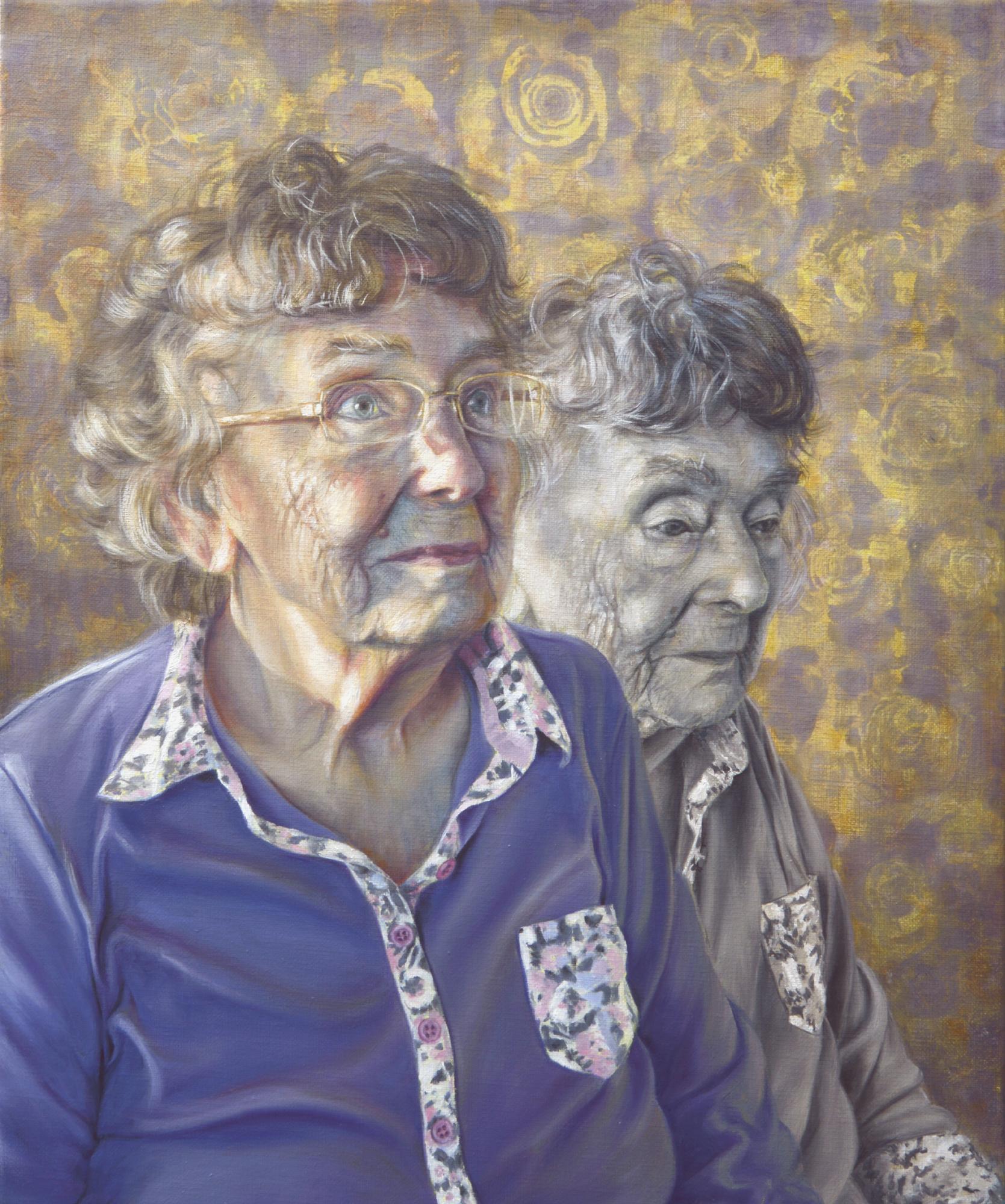 Alanda Calmus, Mrs Joan Prentice, Good Days and Bad, Oil and acrylic on linen, 46x55x2cm,  http://www.alandacalmus.com
