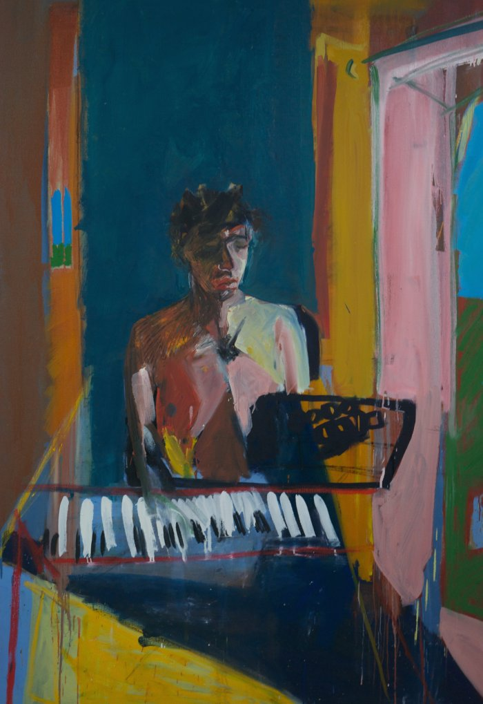Ella Squirrell, Puberty And The Piano, Oil paint on linen, 173cm x121cm x4cms,  http://ellasquirrell.format.com/5154846-home