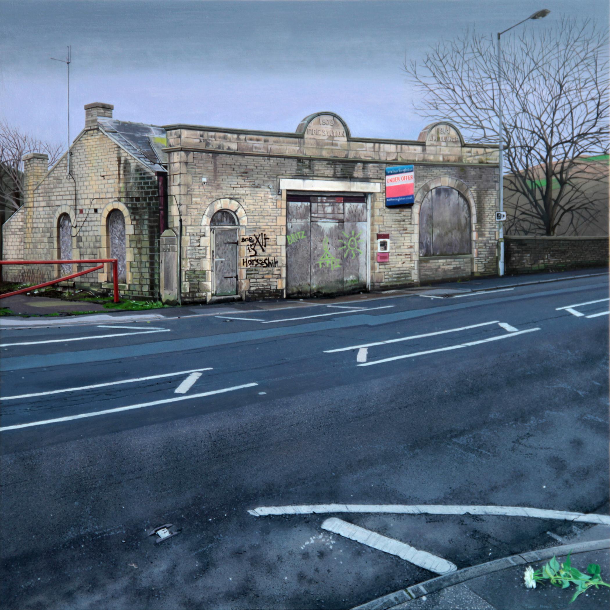 Tony Noble, The political landscape, 2017., Oil on panel., 60 x 60 x 2,  http://www.tonynoble-artist.com