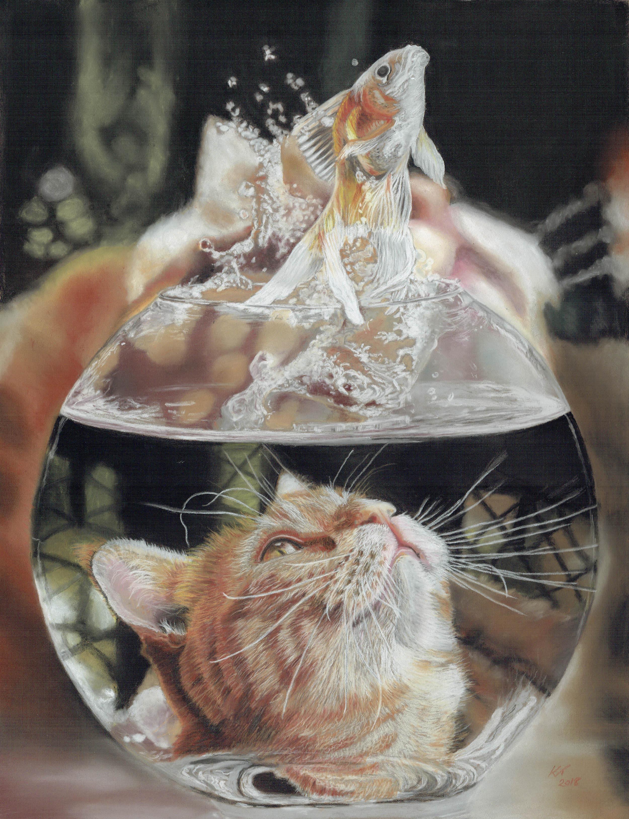 Kaz Turner, Rise to the Bait, Pastel on pastelmat, 38 x 48 cm unframed 56 x 66 x 2.5 cm framed,  http://kazturner.com/index.html