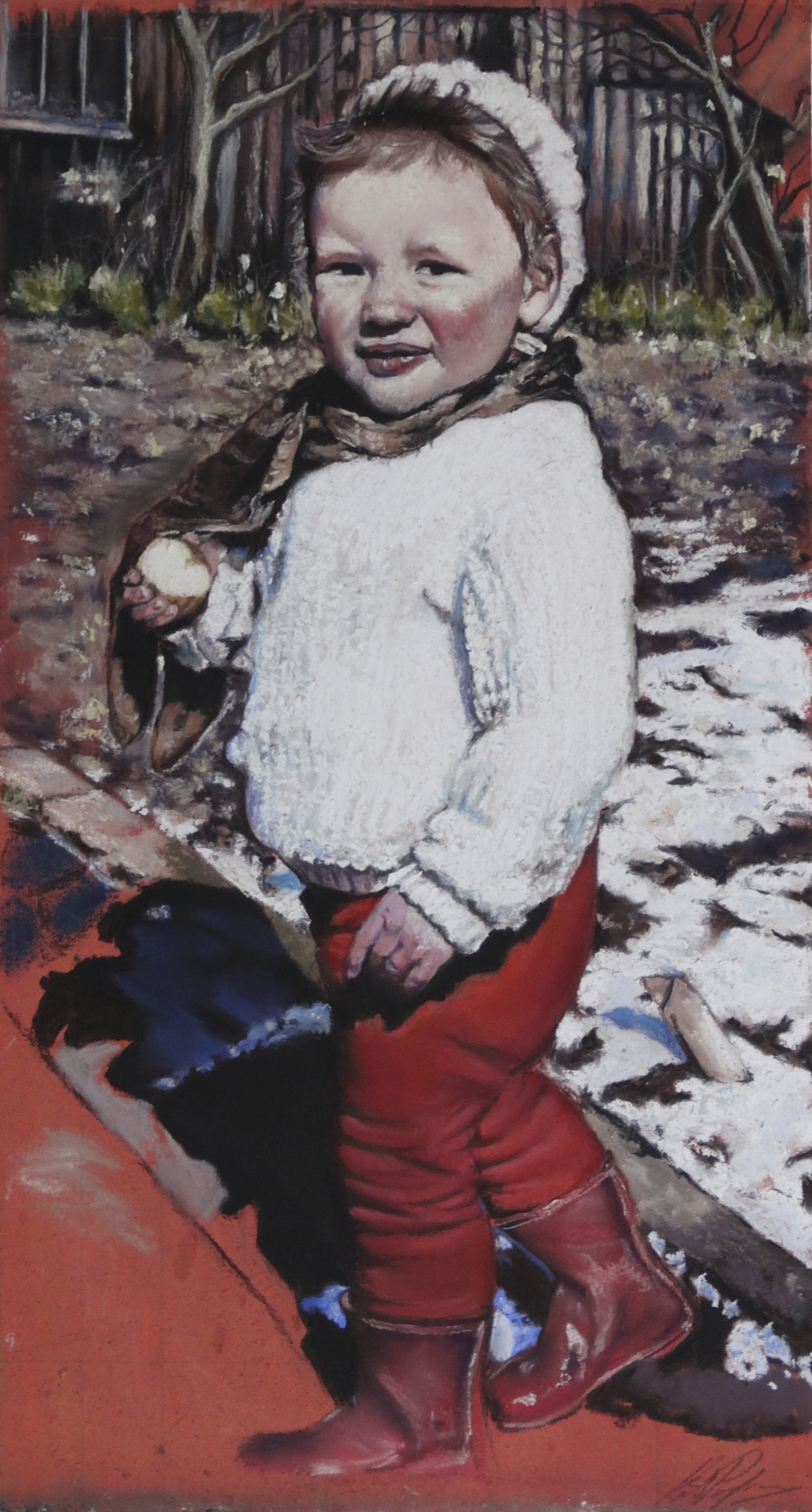 Kate Passingham, The Red Boots, Pastel & charcoal on board, 55cm x 34cm x 3cm,  http://www.katepassingham.co.uk/