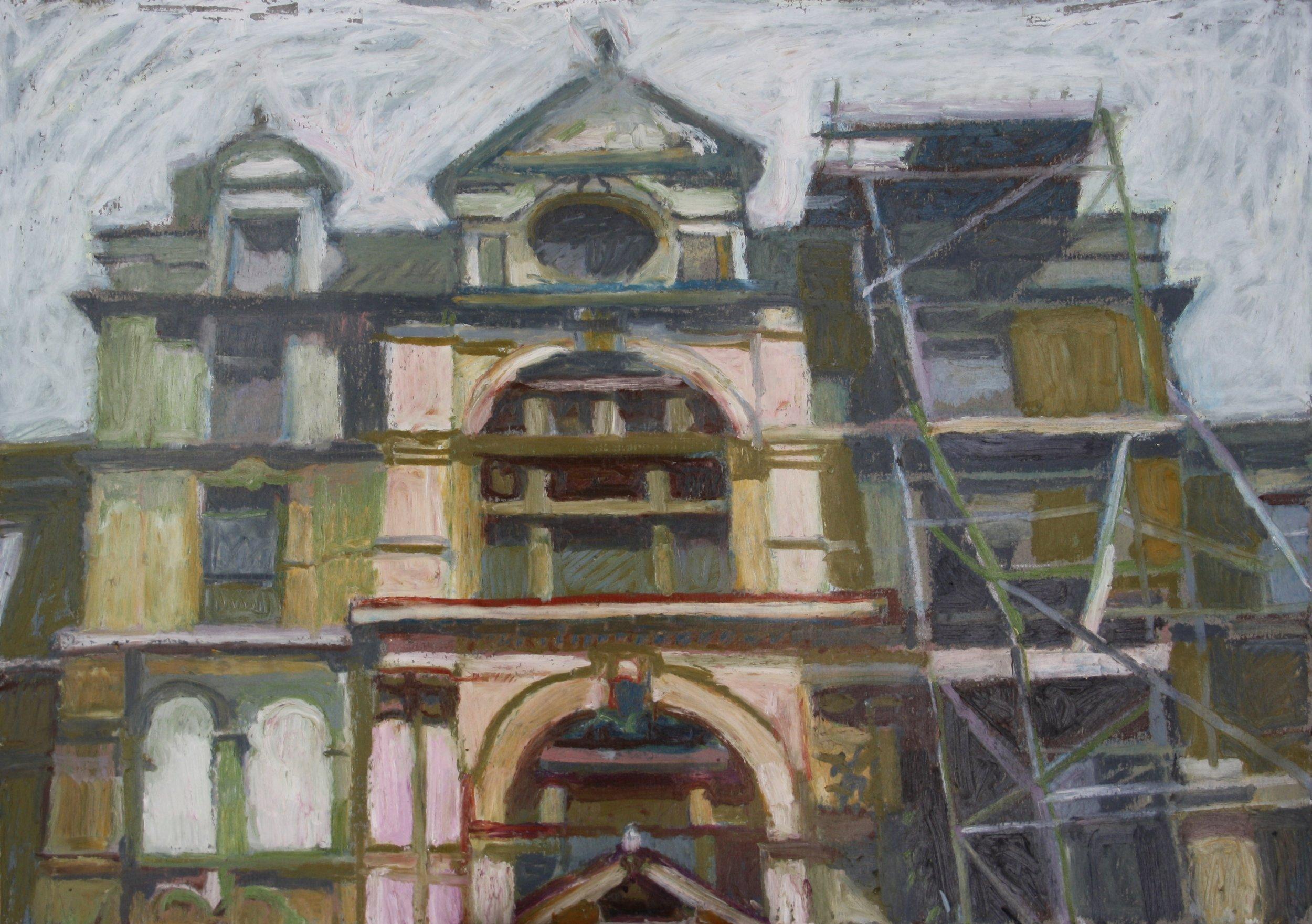 Sebastian Aplin, Coal Exchange east entrance, Oil pastel on paper, 30 x 42 x 3 cm,  http://www.sebastianaplin.com