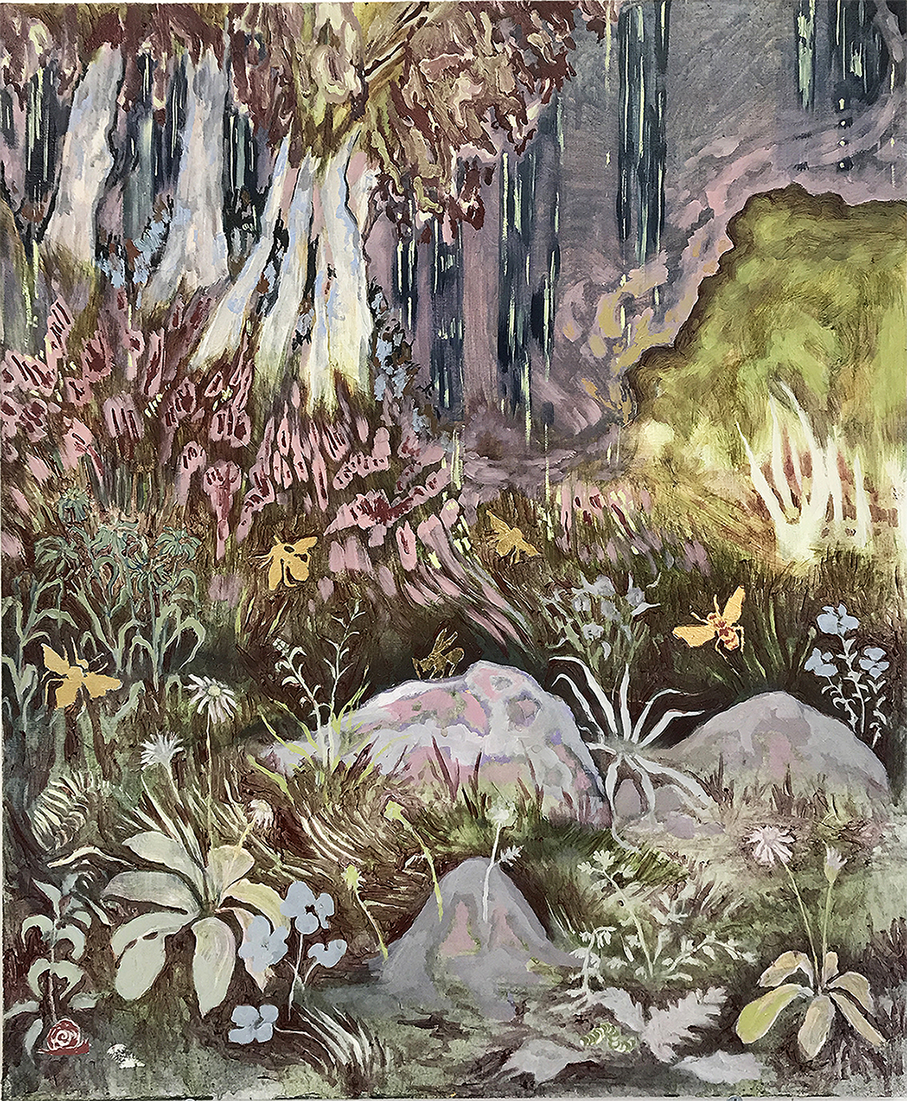 Tuesday Riddell, Golden Bee's, Oil & Gold Leaf on Board, 60 x 50 x 3,  http://tuesdayriddell.com