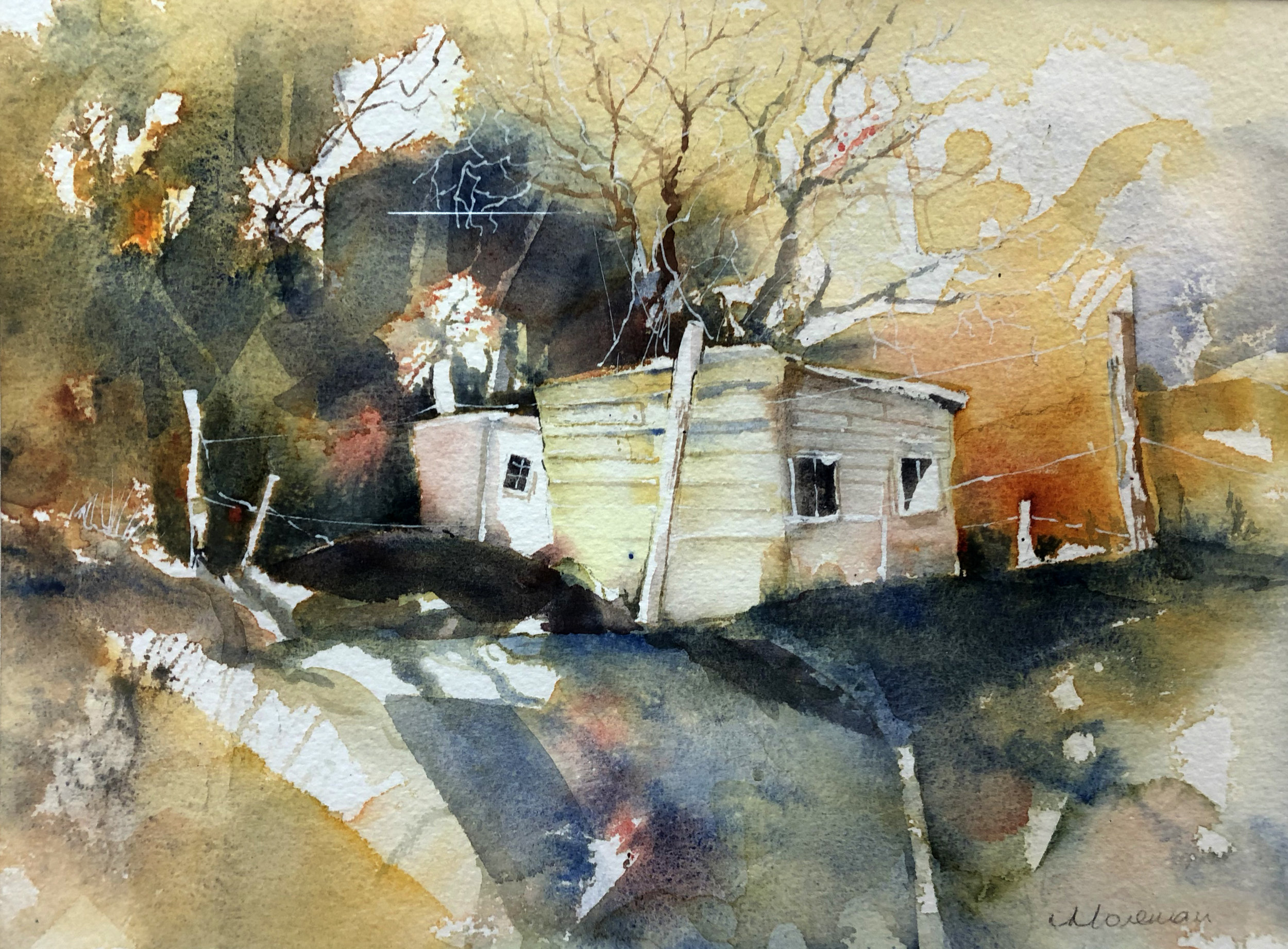 Val Morsman, The Yellow Shed, Watercolour on paper, 24cm x 31cm x 1.5cm,  http://www.valmorsman.com