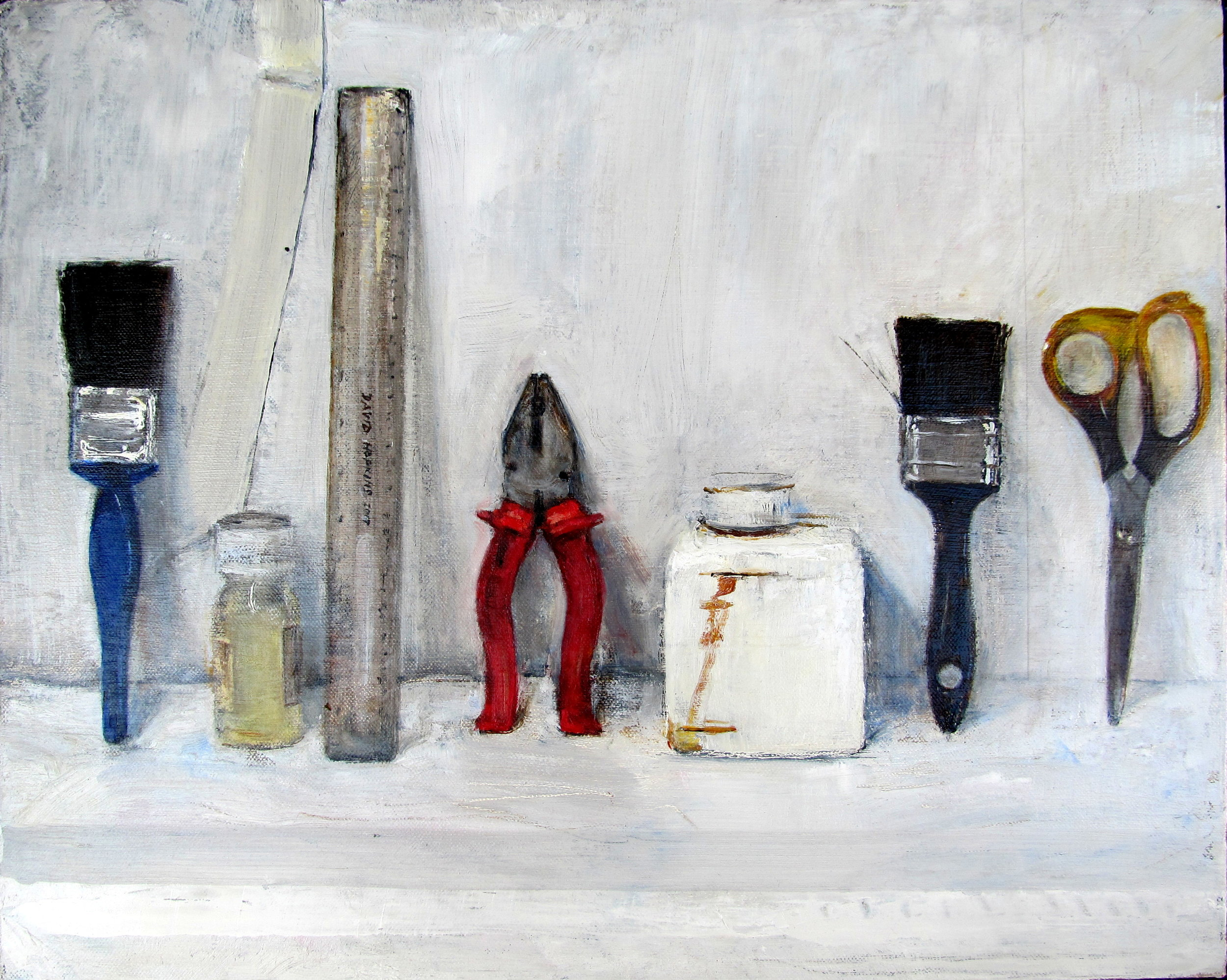 David Hopkins, Victims and Suspects, Oil on canvas, H 40 cm x W 50 cm x D 4 cm,  http://www.davidhopkinspaintings.co.uk