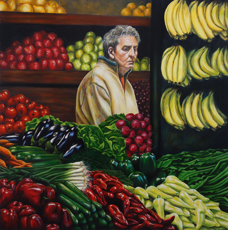 "Kate Broadhurst, ""Lost"" - A Market In Amsterdam, Acrylic on canvas, 100cm x 100cm x 2.5cm,  https://www.instagram.com/broadhurst_art/"
