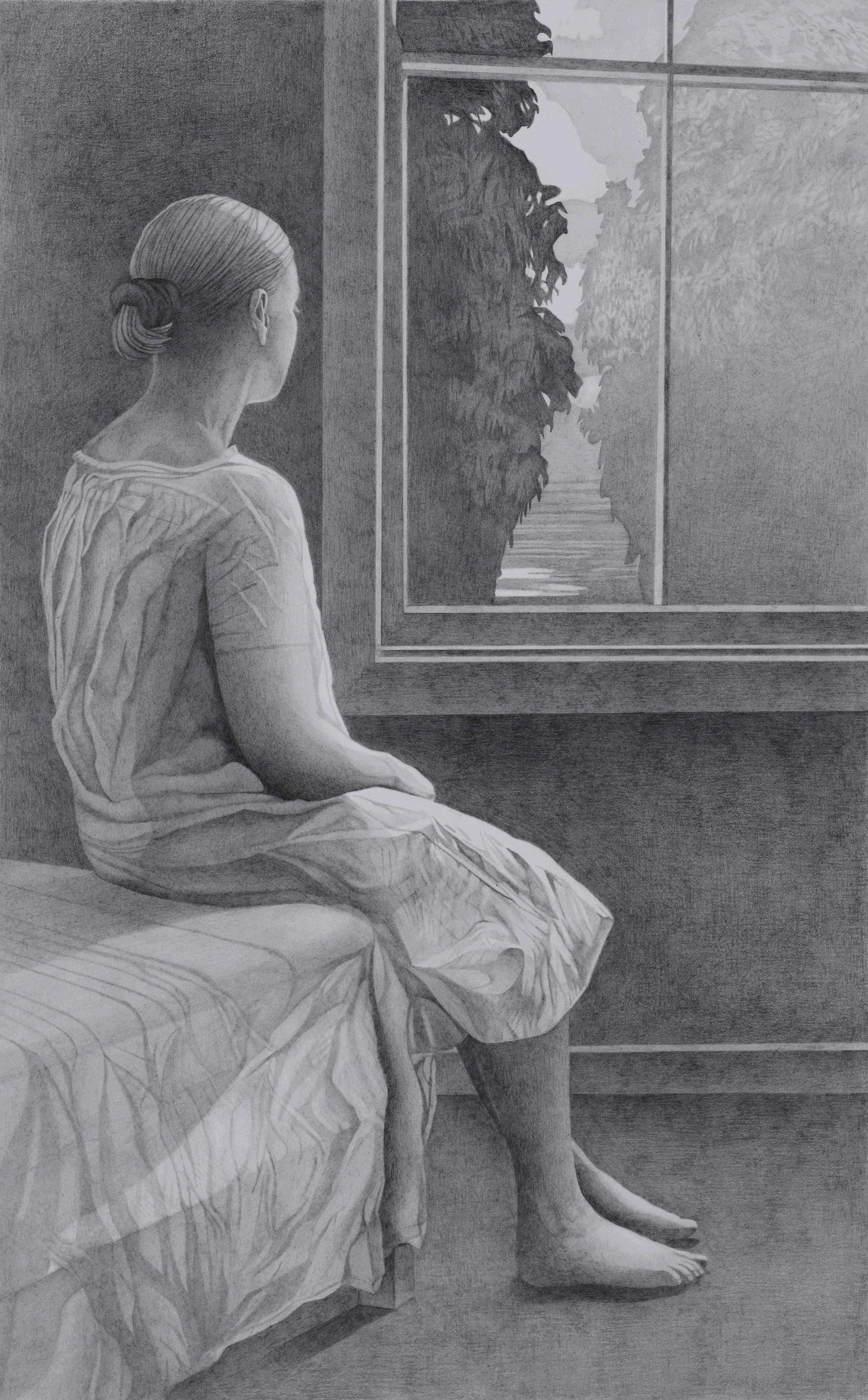 Paul Hogg, Woman at a Window, Pencil on paper, 54cmx34cm,  http://paul-hogg.com