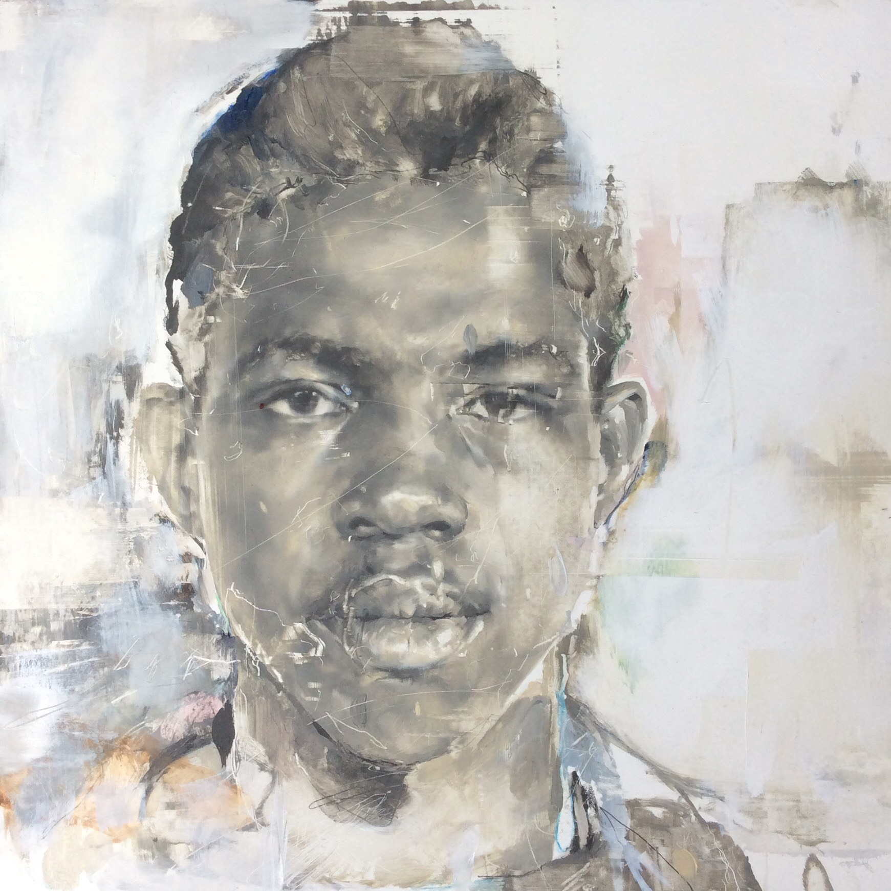 Angela Bell, Sylvester Junior, Oil on gesso panel, 25x25x1,  http://www.angebellart.com