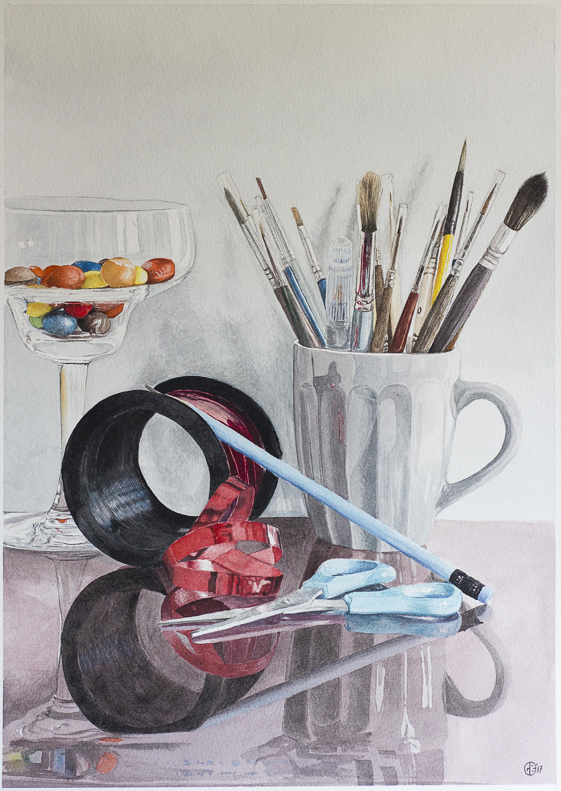 Giovanni Balzarani, The Red Ribbon, watercolor on paper, 42cm x 30cm,  http://giovannibalzarani.wixsite.com/jopaint