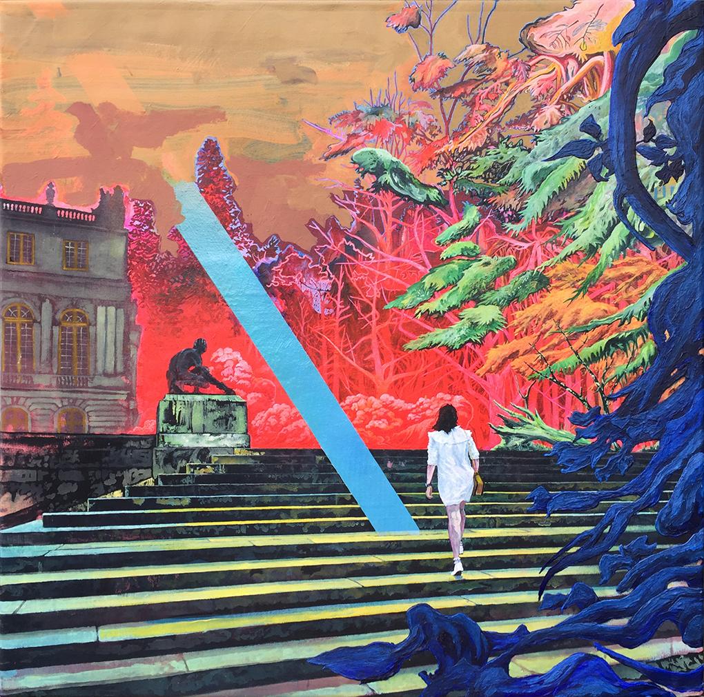 Rene Gonzalez, Up Steps, Acrylic and spray paint on canvas, 90 x 90 x 2 cm,  http://www.therenegonzalez.com