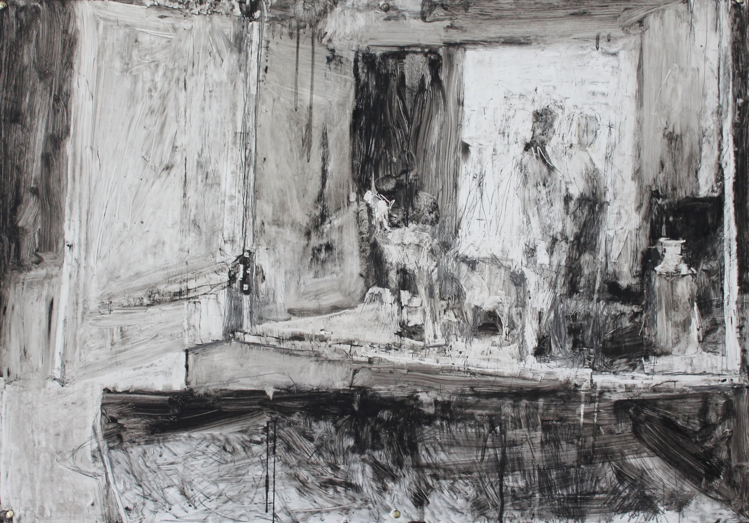Craig Jefferson, Camel and Figure Still Life, Oilbar, graphite and soot on paper, 69cm x 100cm x 5cm,  http://www.craigjefferson.com