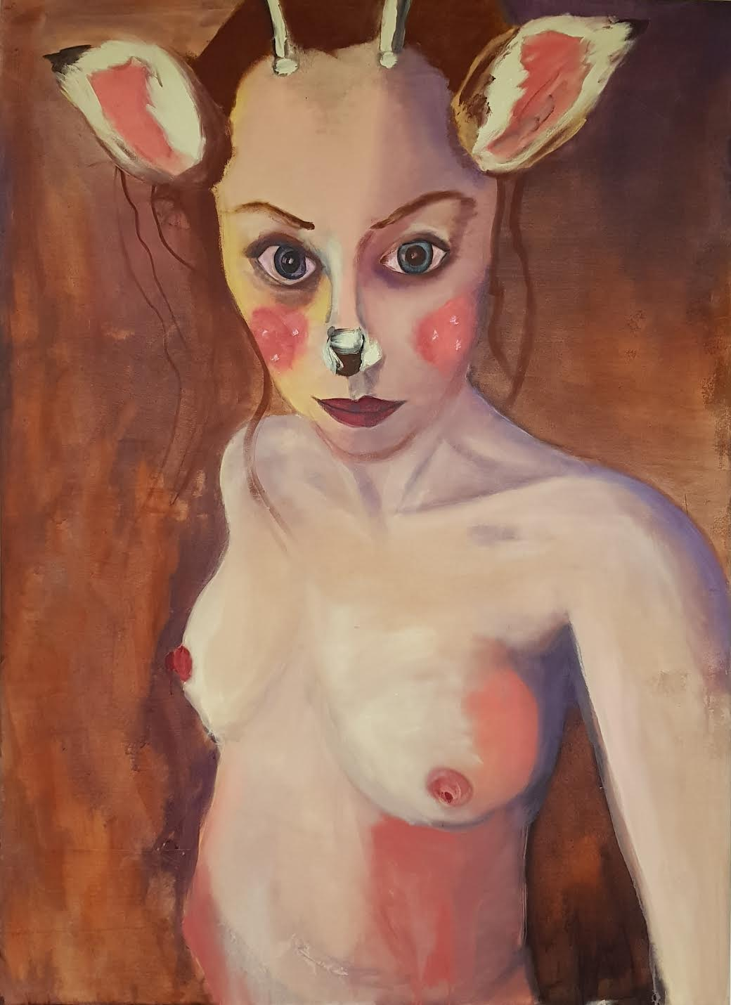 Rhiannon Salisbury, Selfie with Animated Fawn Mask, acrylic on cotton streched canvas, 160 x 120 x 2,  http://www.rhiannonrebecca.net