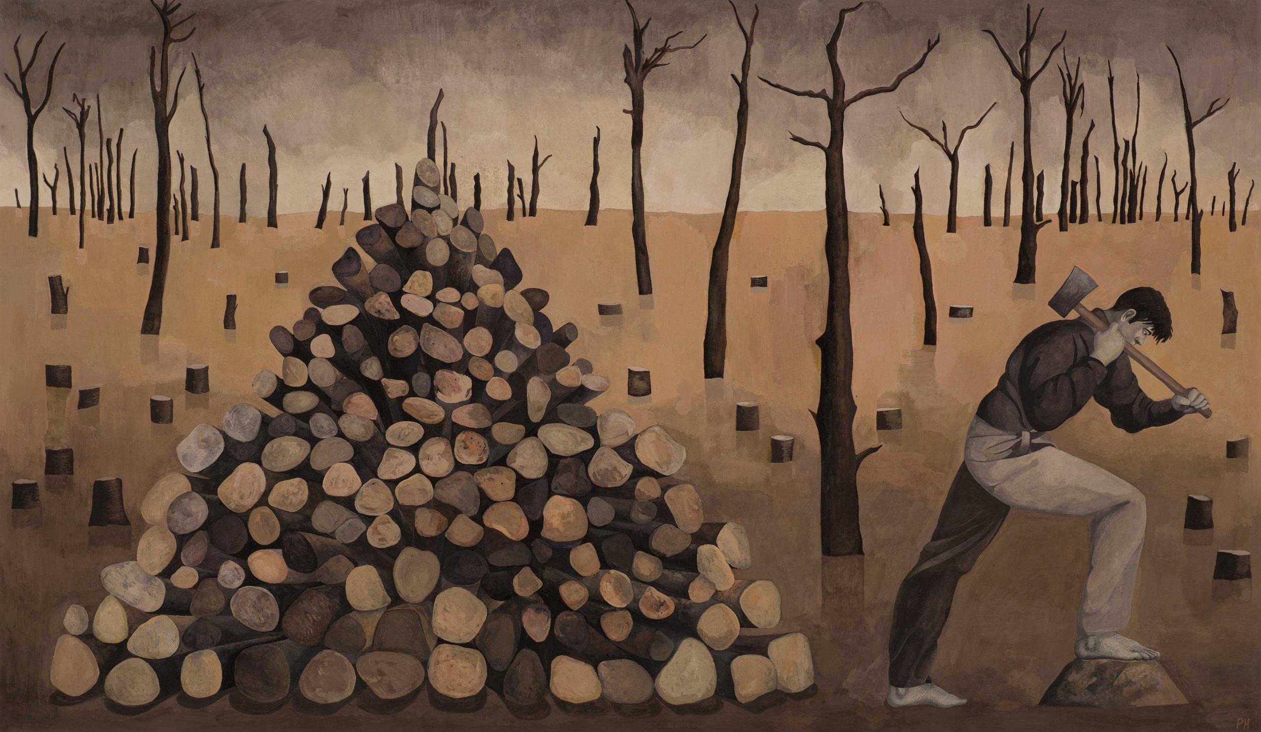 Paul Hogg, Woodcutter, Gouache on paper, 46cm x 80cm,  http://www.paul-hogg.com
