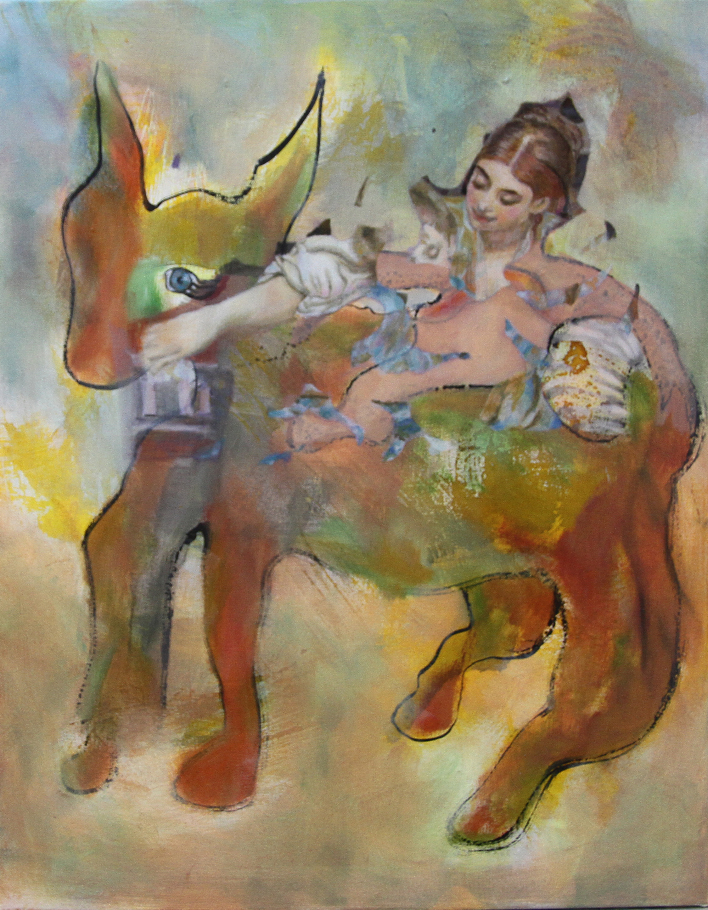 DAniela Benz, Donkey with woman, Ink and oil on canvas, 50x40x2 cm,  http://www.daniela-benz.ch