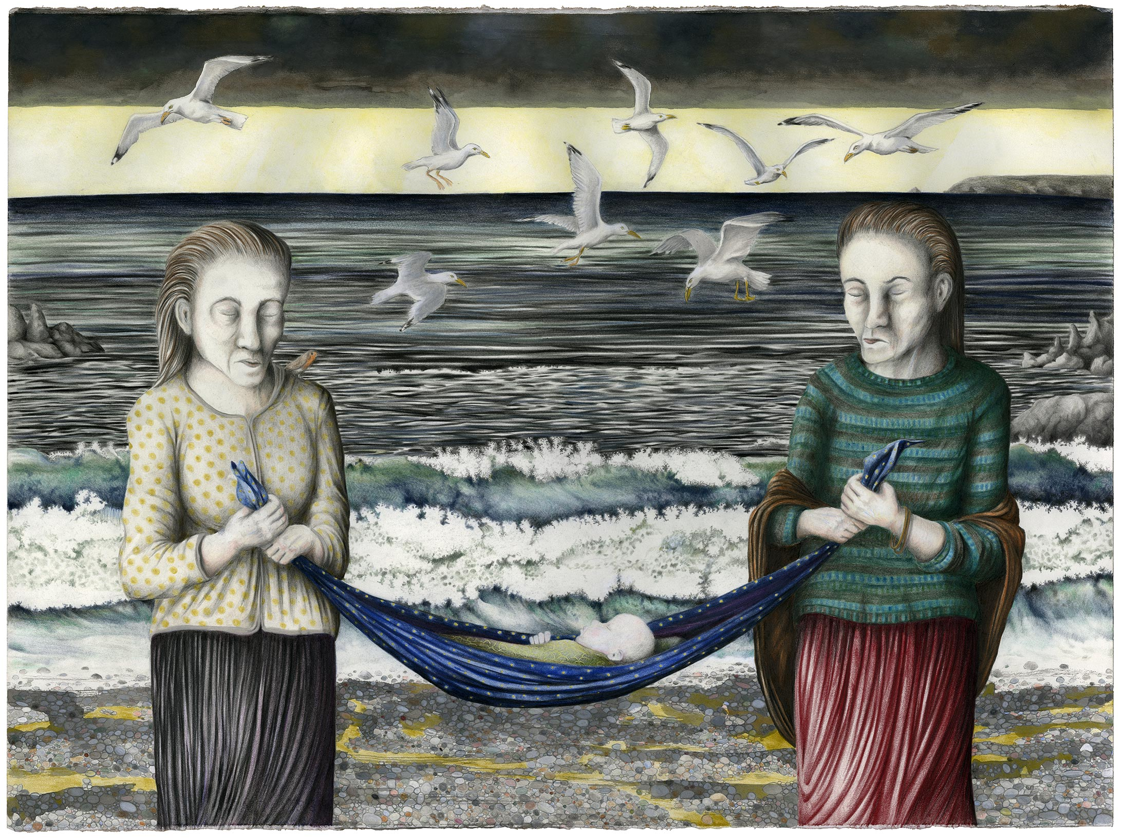 Louise Vercoe, At the Cove, Mixed Media on paper, height 56 cm width 76 cm,  http://www.facebook.com/LouiseVercoe.art