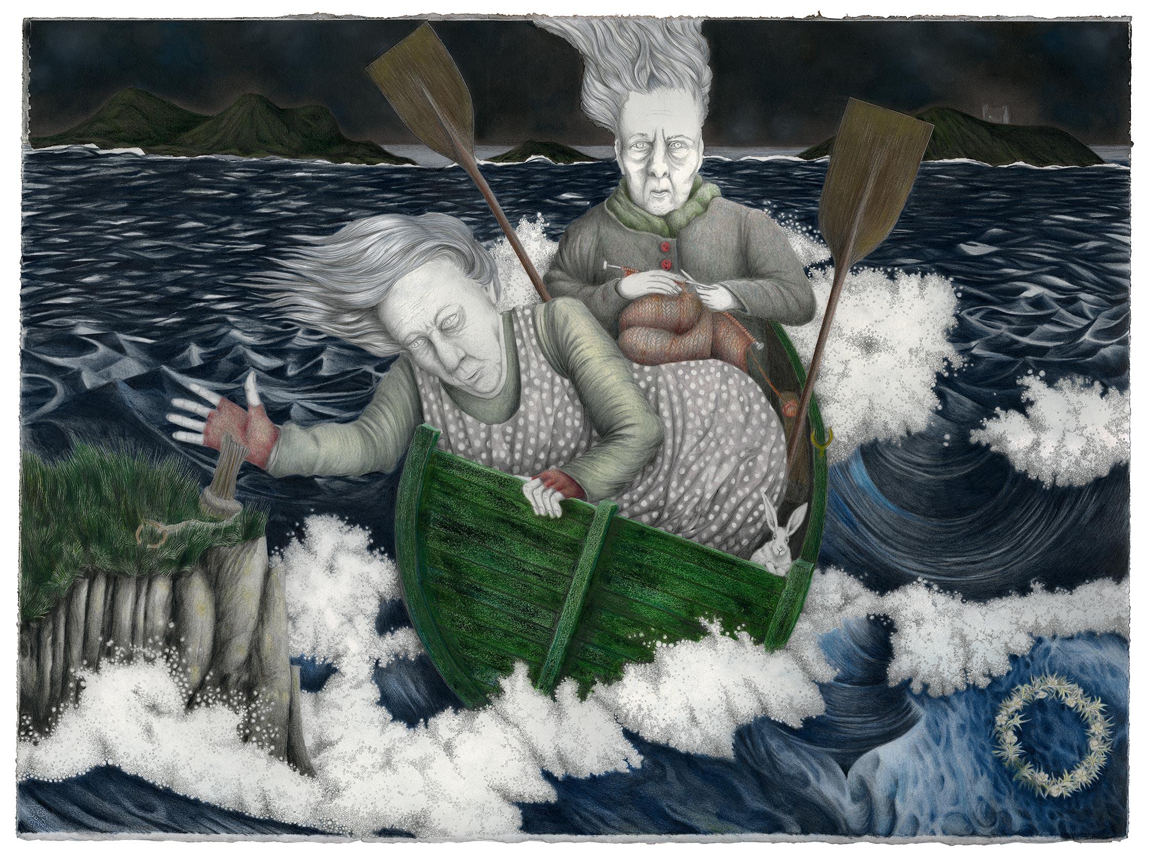 Louise Vercoe, Casting Off, Coloured Pencil on paper, height 58 cm width 77 cm,  http://www.facebook.com/LouiseVercoe.art