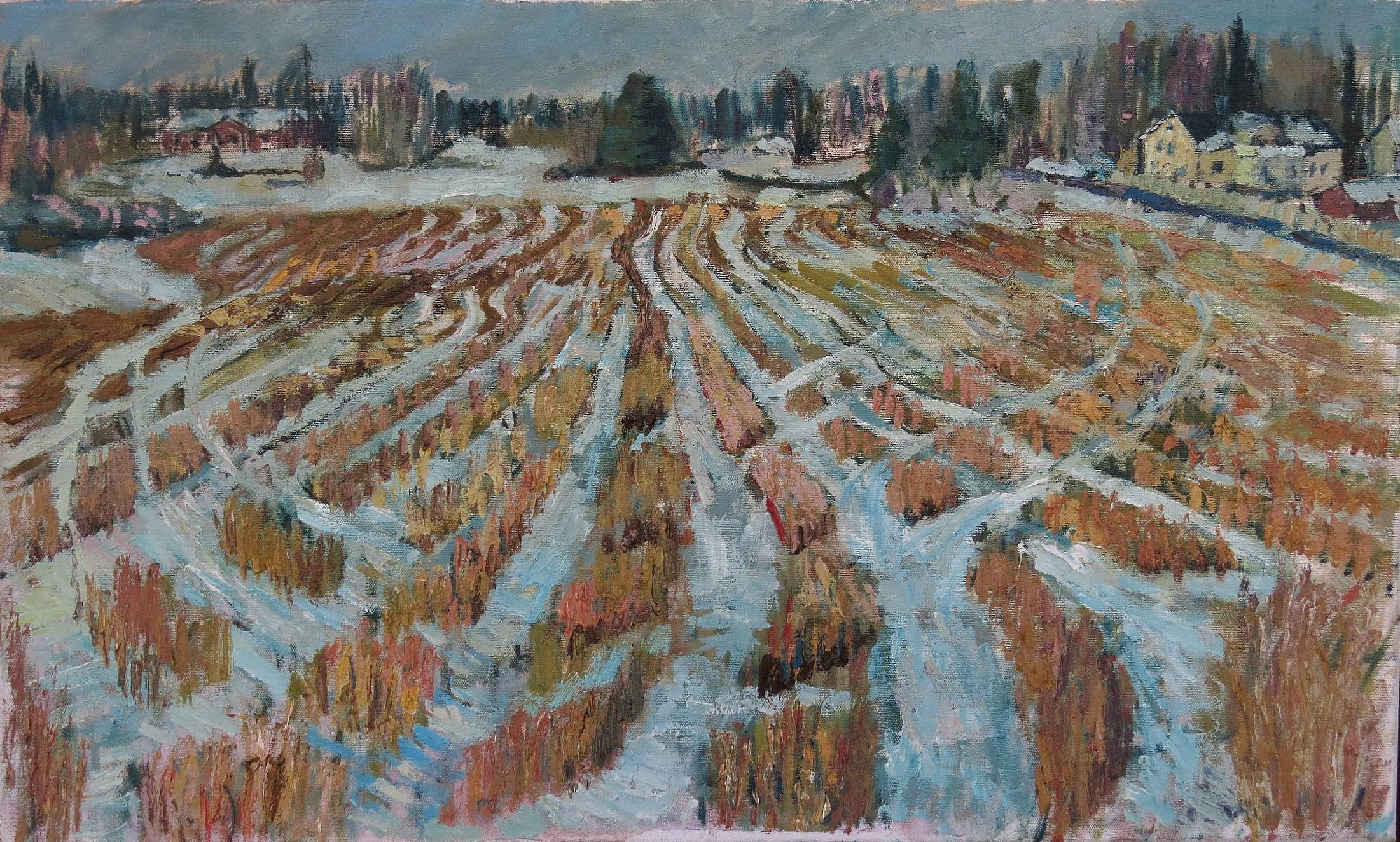 John Maclean, Wheatfield in Winter, Oil on canvas, 75 x45 cm,  http://www.macleanoilpainting.com
