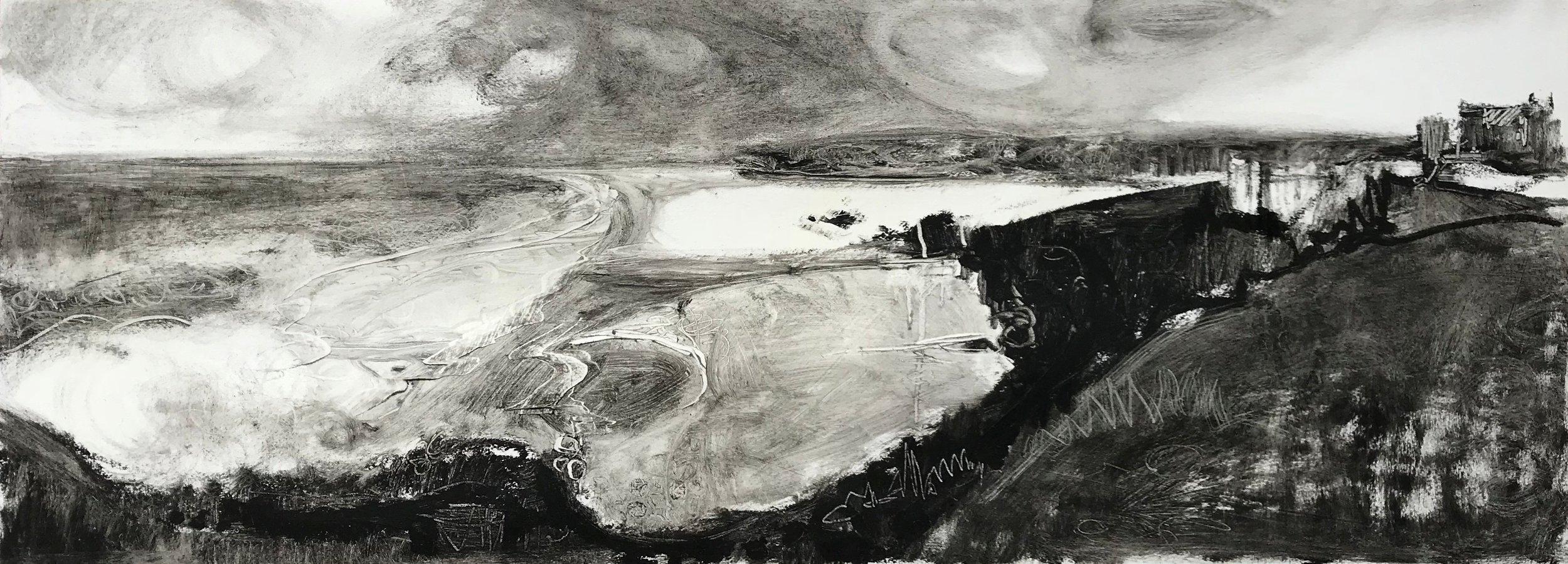 Liane STEVENSON, Perranporth, Black oil stick on varnished paper, 29 cm x 78 cm,  http://Lianestevenson.theartistsweb.co.uk