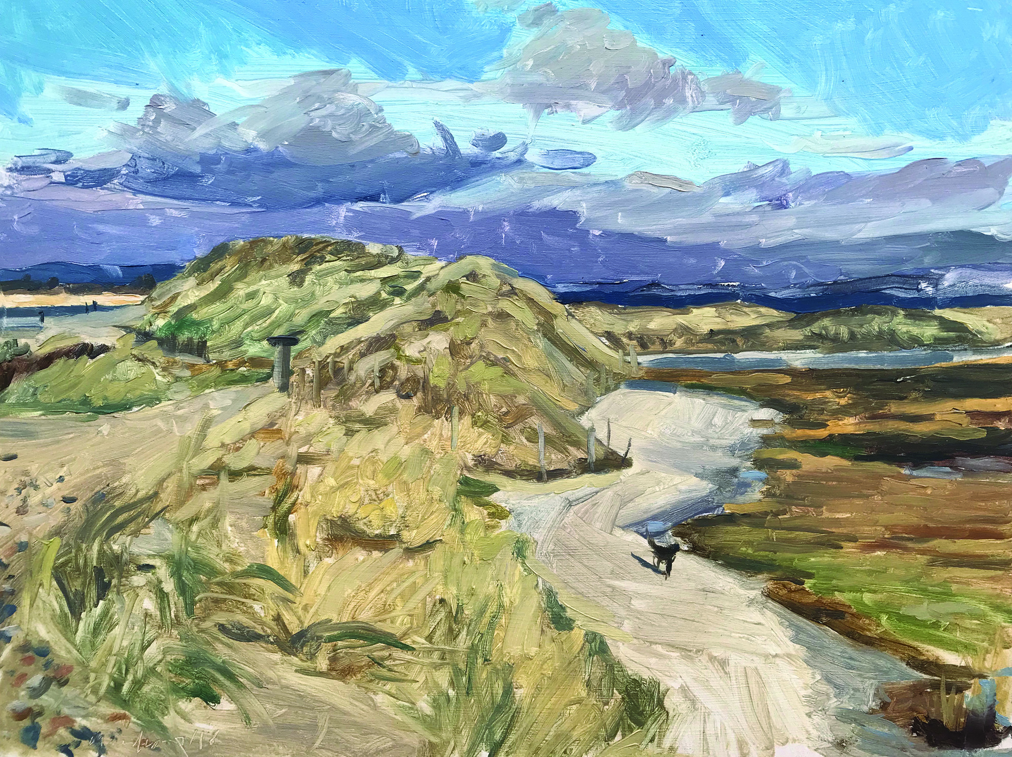 Sarah Manolescue, Dog on the path, East Head, Oil on panel, 30.5 cm x 40.5 cm x 0.3 cm,  http://www.sarahmanolescue.co.uk