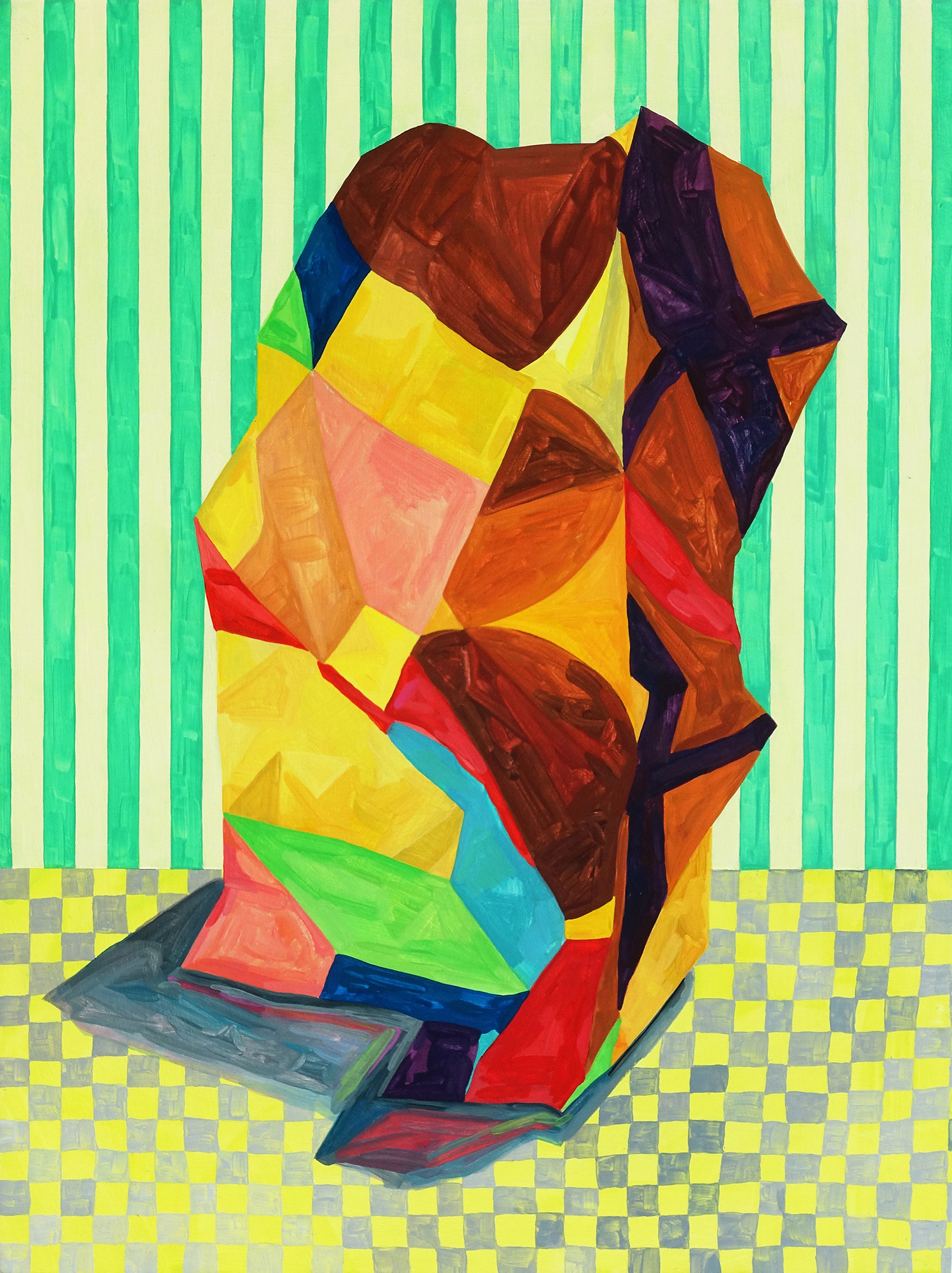 Louisa Chambers, Lean, gouache on board, 40 x 30 x 2,  http://www.louisachambers.com