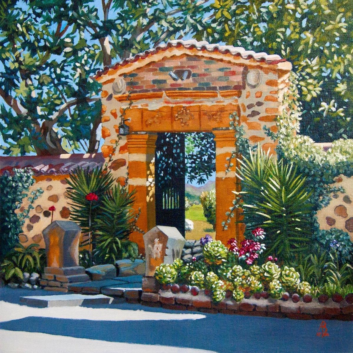 Alix Baker, To a Monastery Garden, Colombia, Oil, 40 x 40 x 0.5,  http://www.alixbaker.com