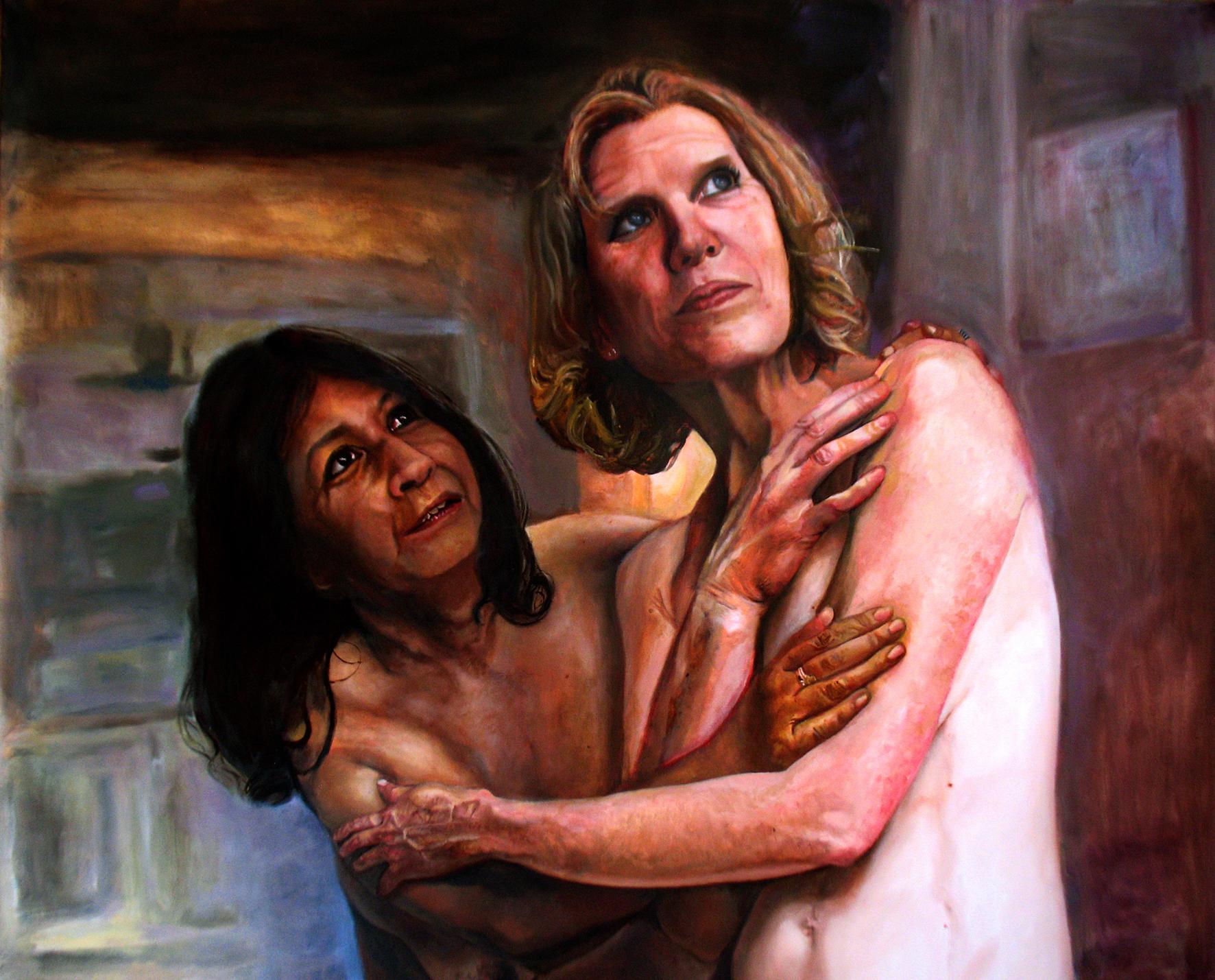 Natalia Glinoer, Lola and Karima 3, Oil on Linen, 174cm x 143cm x 3cm