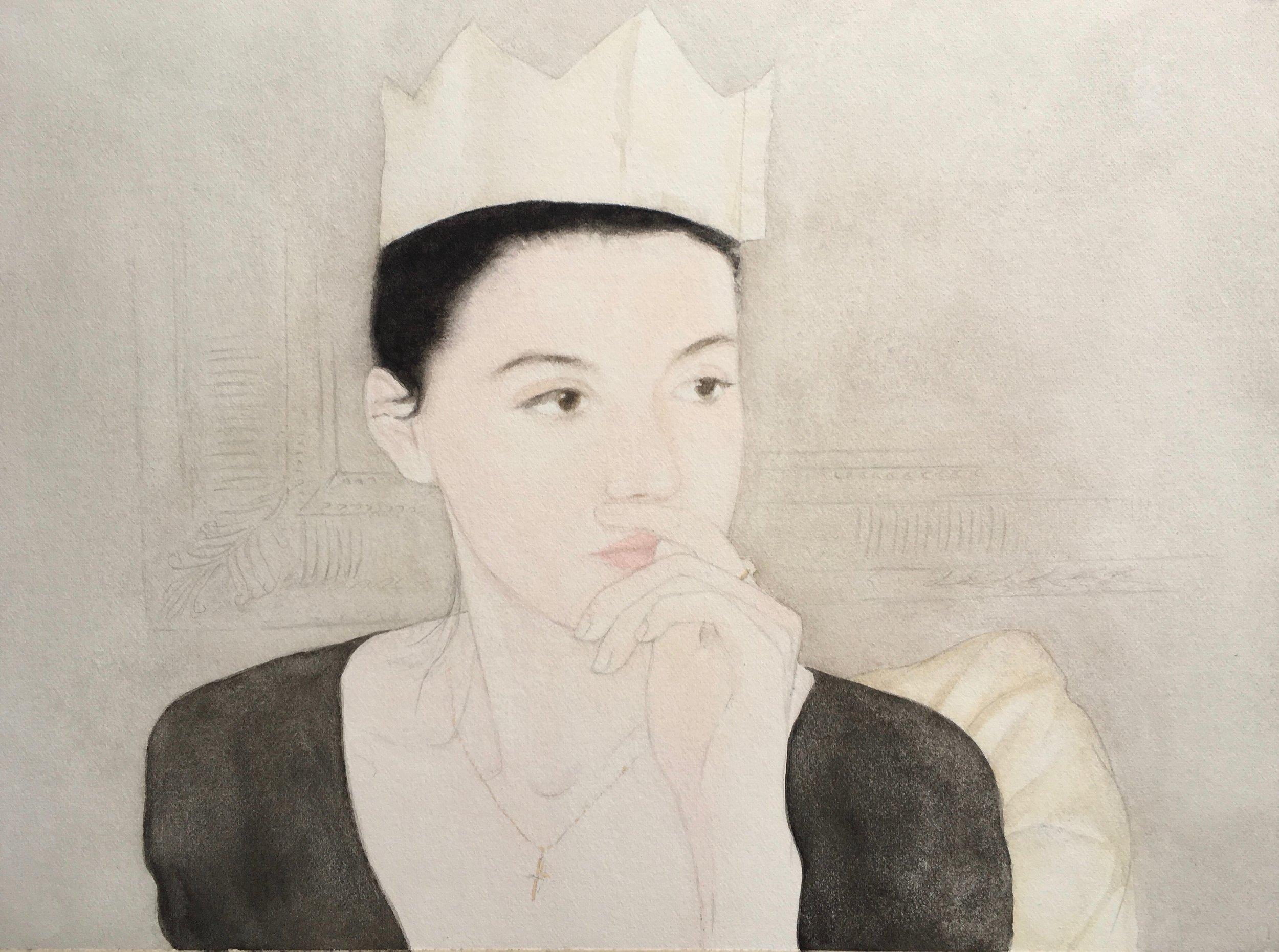 Jo Lynch, Maddy, Christmas Day, Watercolour on Paper, 19cm x 25.6cm,  http://www.belasdead.com/