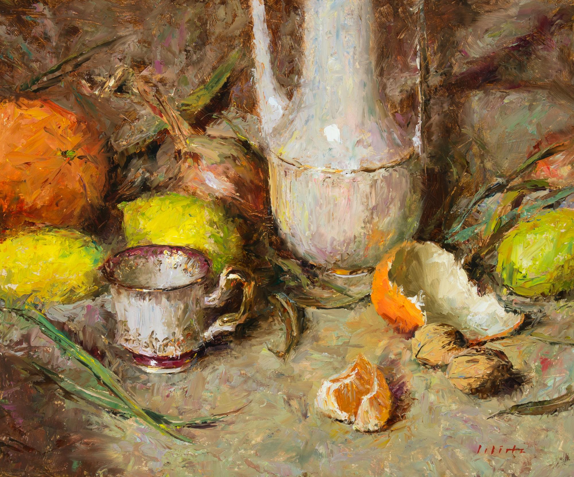 Björn Wirtz, Composition with Tangerine, Oil on Panel, 25 cm x 30 cm x 0,3 cm,  http://www.bjoernwirtz.com