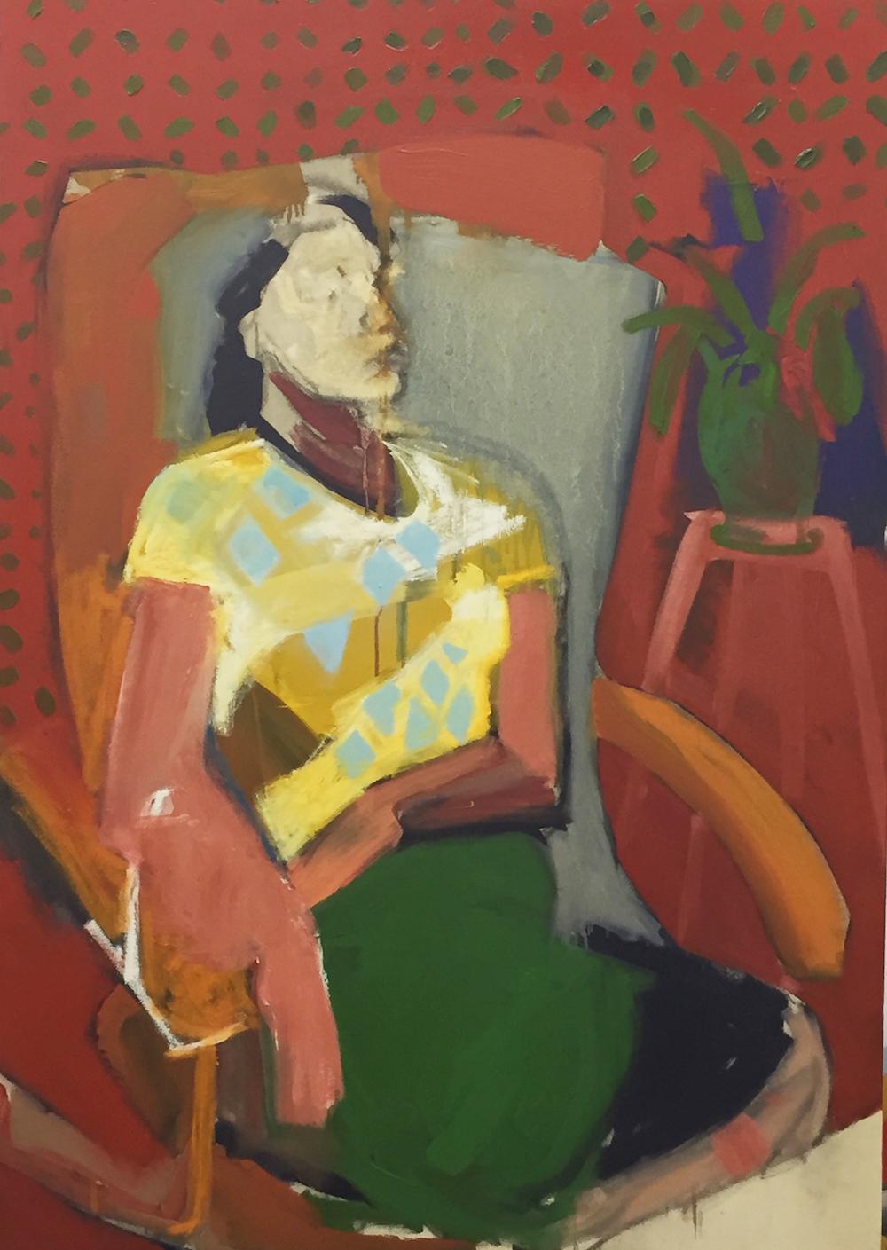 Ella Squirrell, Dancing plant, Oil paint on canvas, 100cm x 145cms x 4,  http://ellasquirrell.format.com/5154846-home