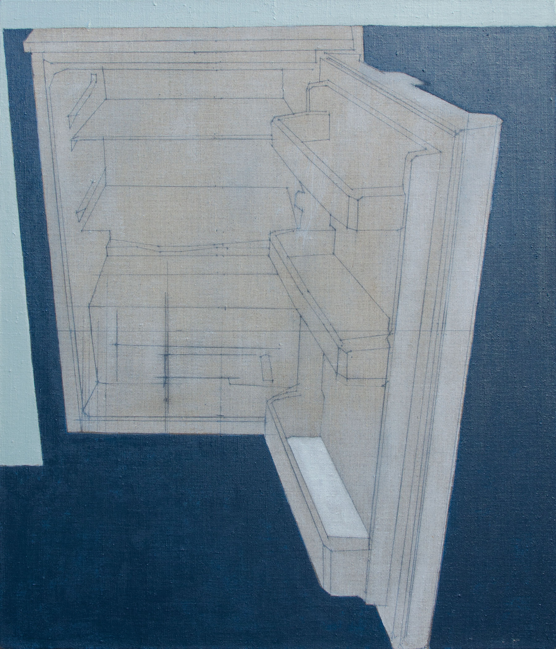 James Reynolds, The Fridge Incident, Oil and Graphite on Linen, 46 x 55cm,  http://www.jhtreynolds.com