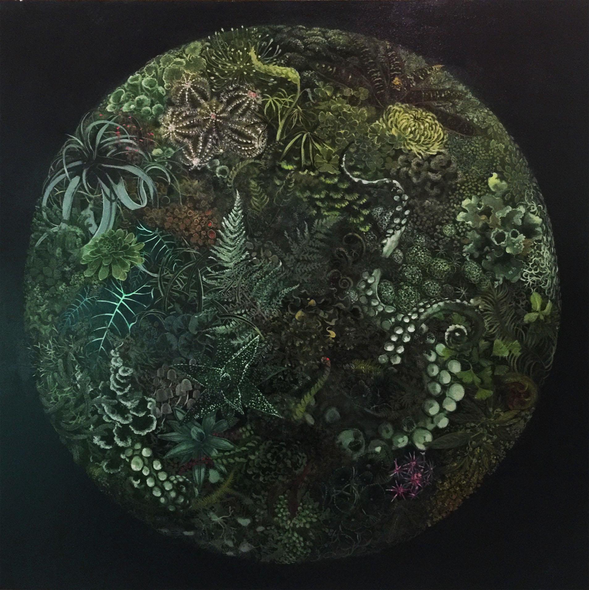 Keng Wai Lee, Serendipity, Acrylic on canvas, 102cm x102cm x 4cm,  http://www.bagmanandrobinart.co.uk