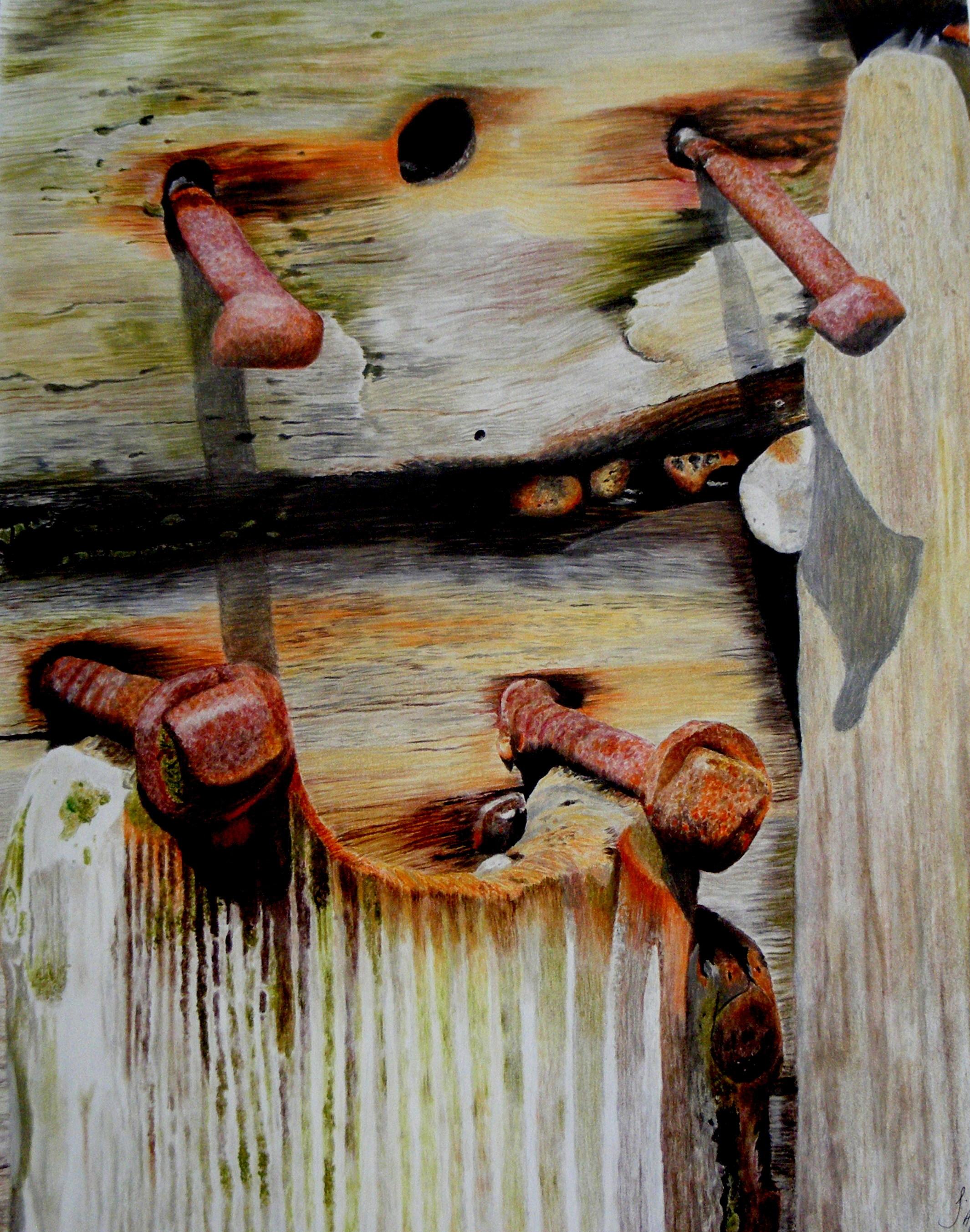 Jayne Morgan, Groyne on Bognor Beach, Pastels and pastel pencils on paper, 56 x 41x 1 cm