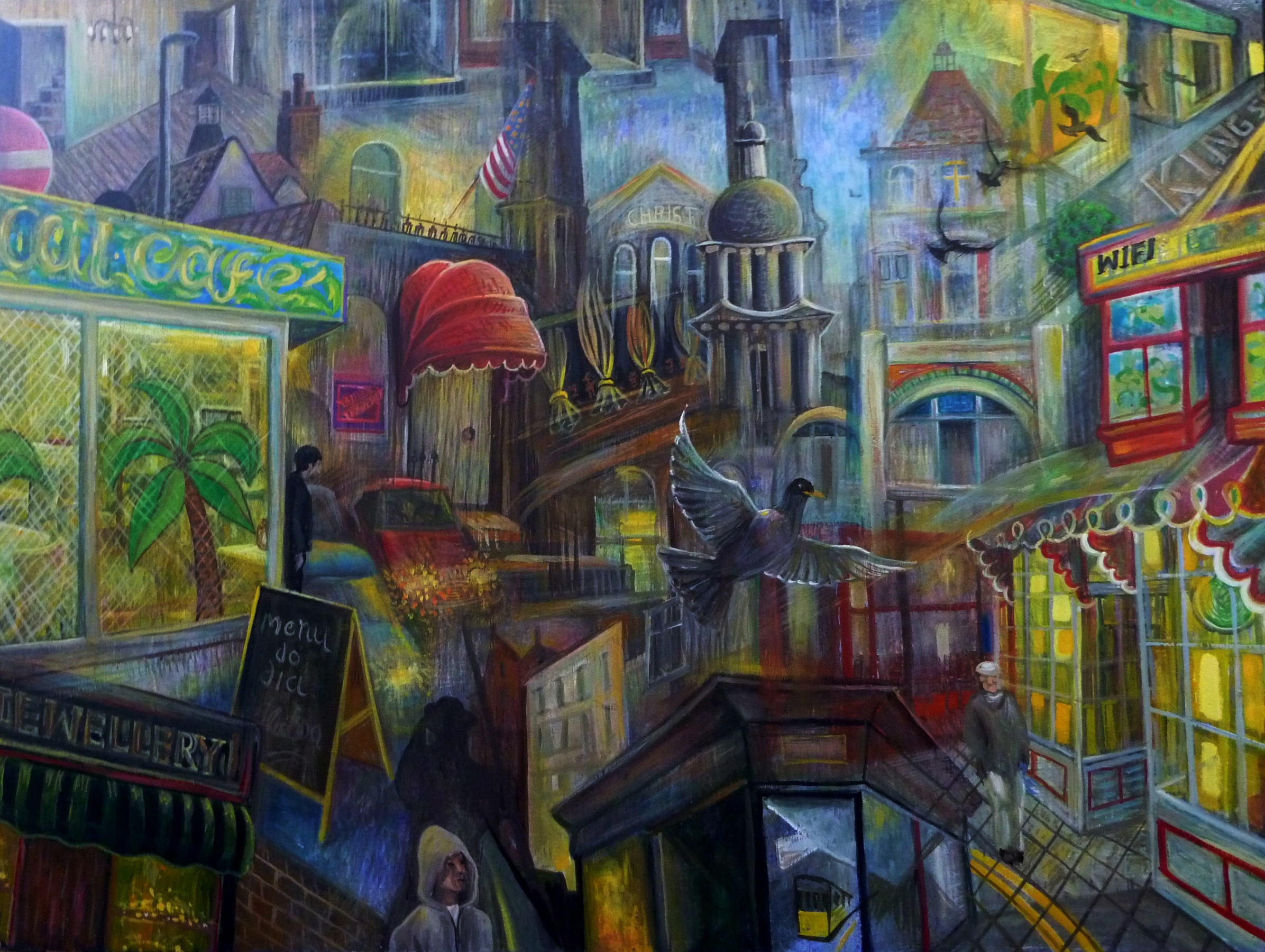 Peter Rodulfo, Walking through the street the other day, oil on wood, 92x122cm,  http://www.rodulfo.org